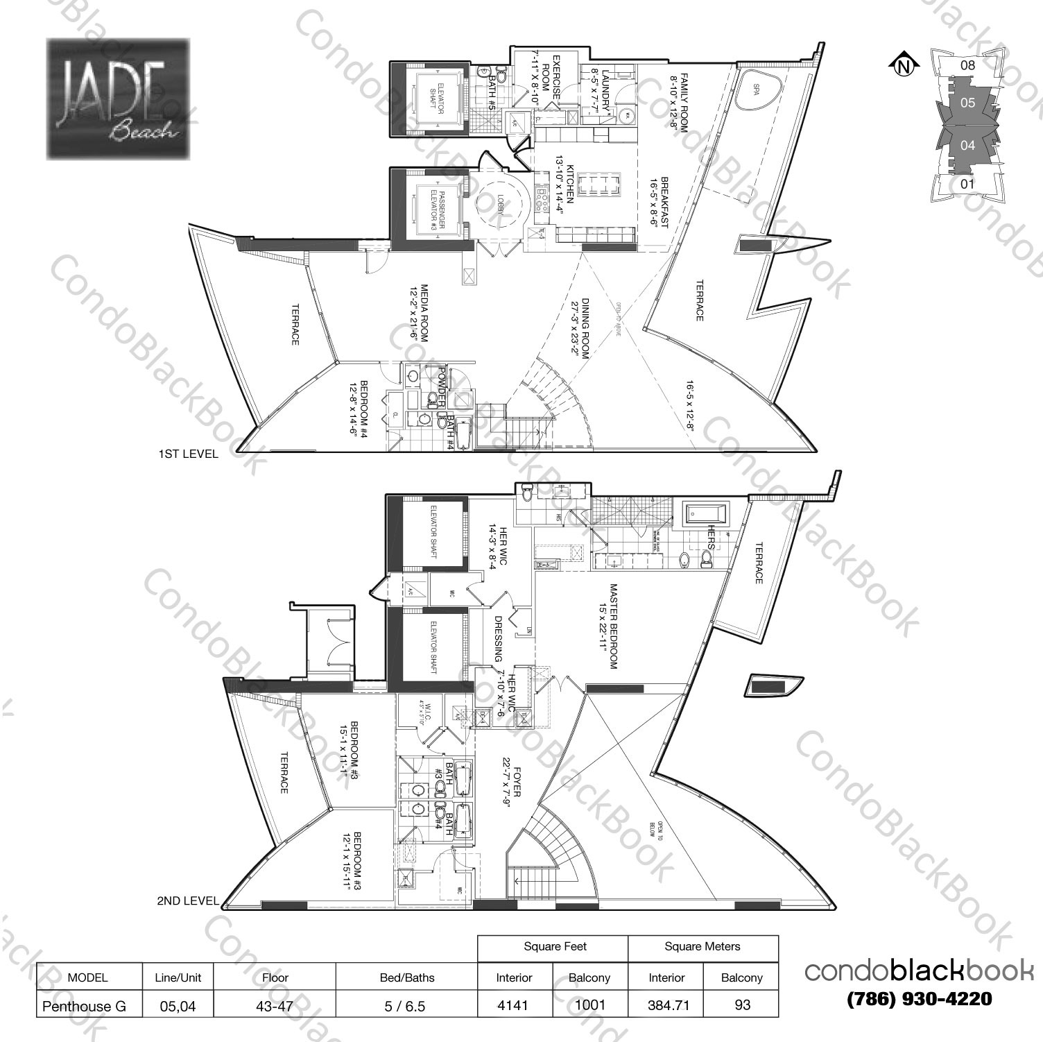 Floor plan for Jade Beach Sunny Isles Beach, model Penthouse G, line 05,04, 5 / 6.5 bedrooms, 4525 sq ft