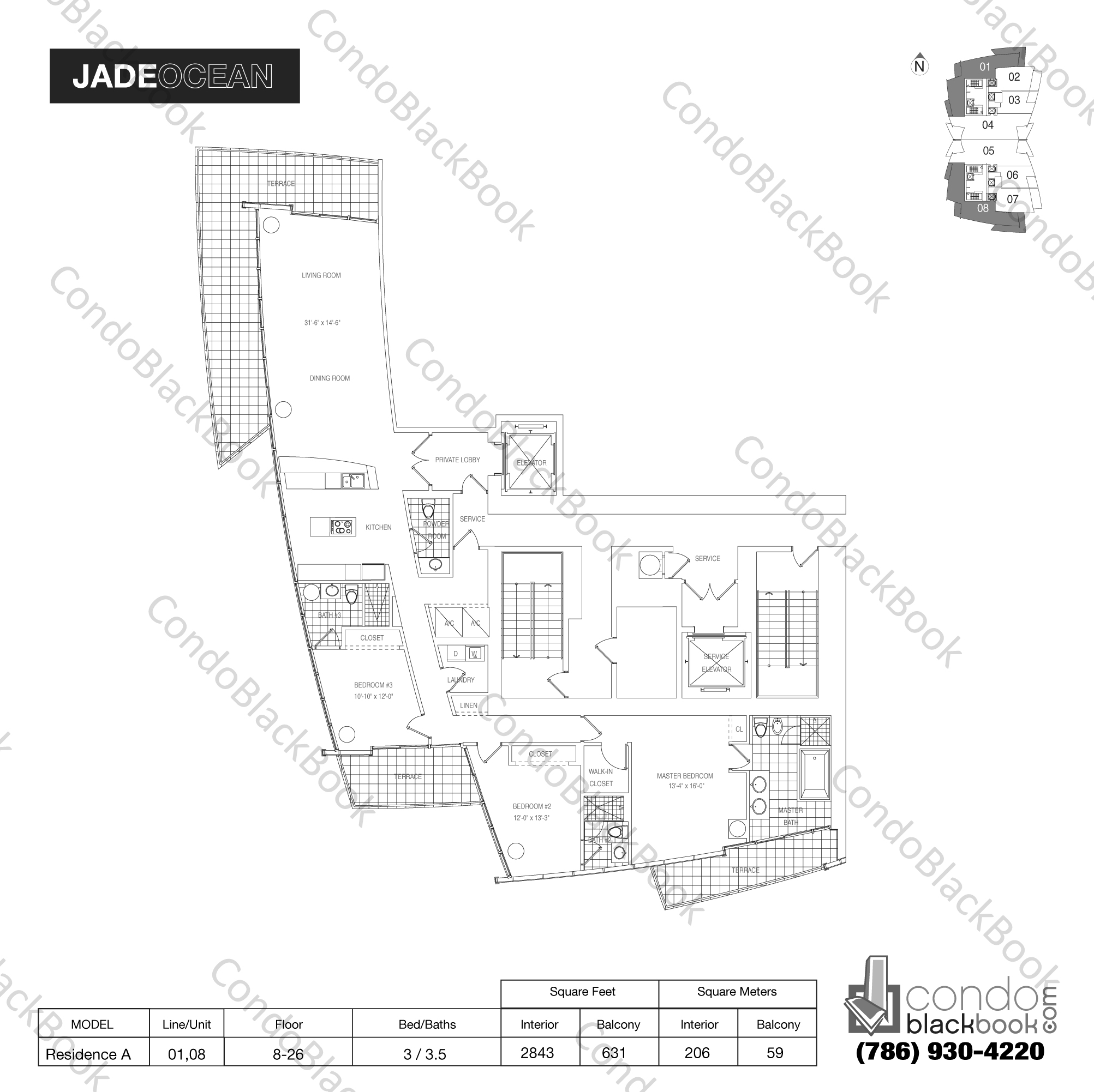 Floor plan for Jade Ocean Sunny Isles Beach, model Residence A, line 01,08, 3 / 3.5 bedrooms, 2843 sq ft