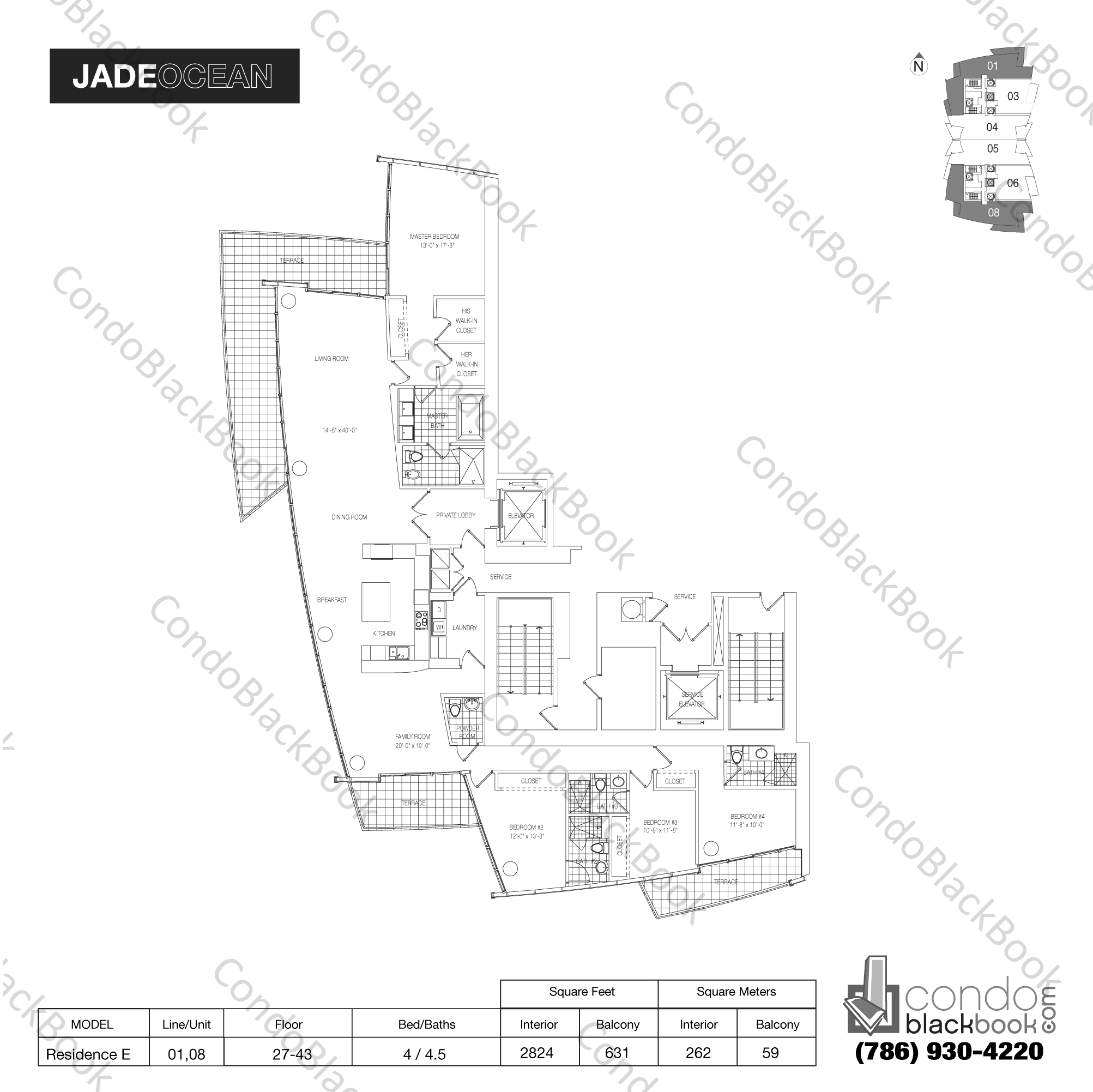 Floor plan for Jade Ocean Sunny Isles Beach, model Residence E, line 01,08, 4 / 4.5 bedrooms, 2824 sq ft