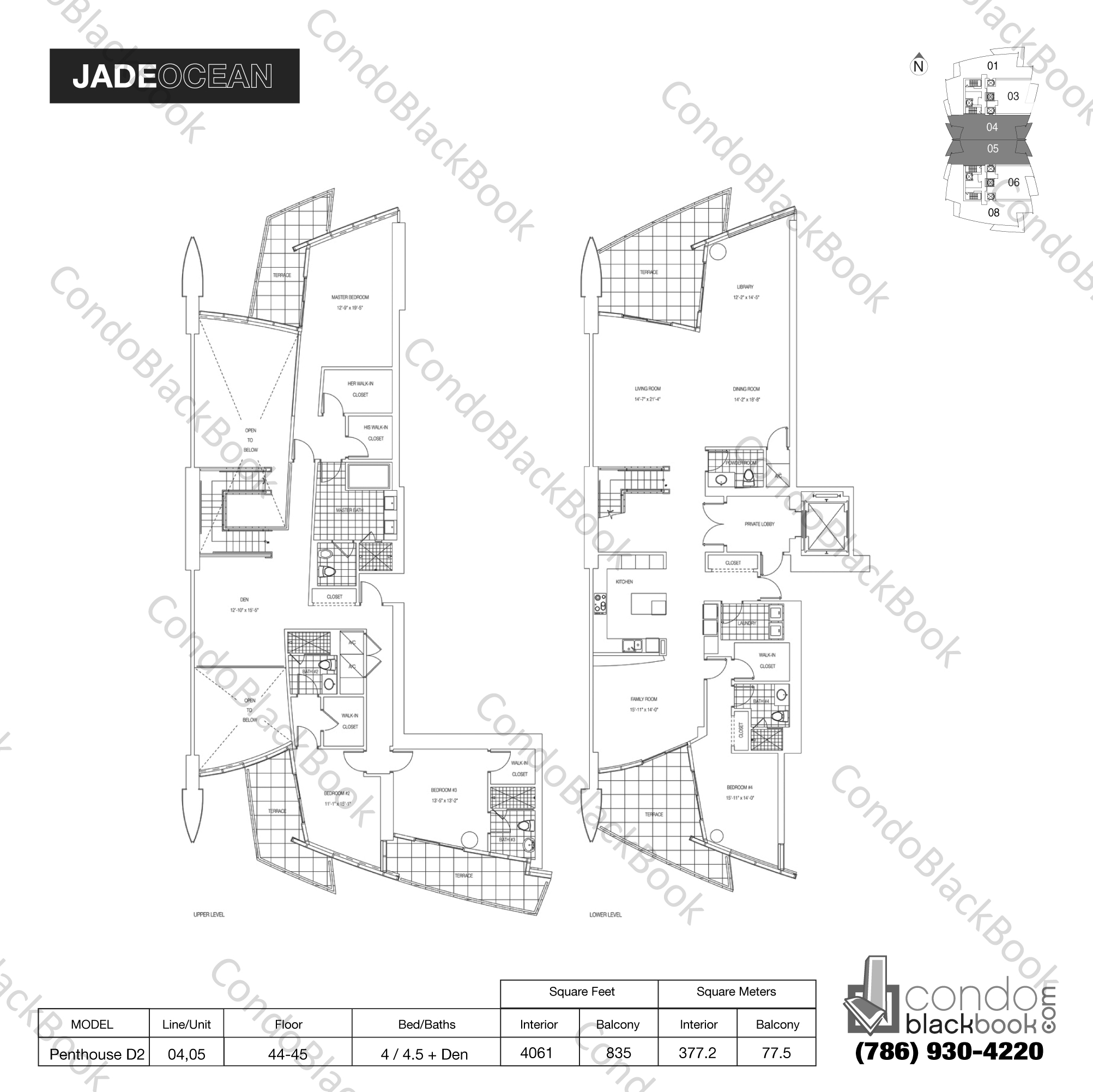 Floor plan for Jade Ocean Sunny Isles Beach, model Penthouse D2, line 04,05, 4 / 4.5 + Den bedrooms, 4061 sq ft