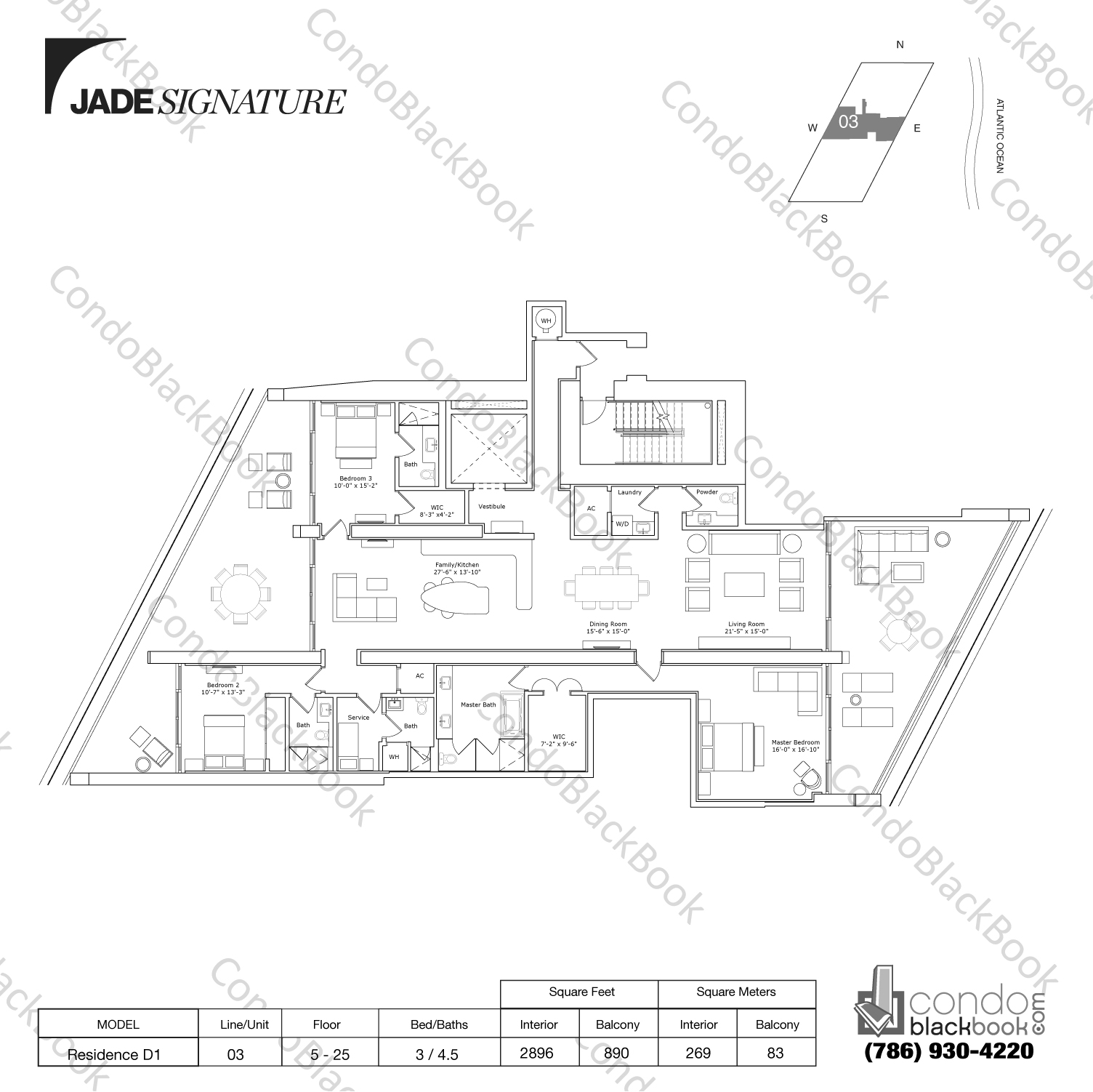 Floor plan for Jade Signature Sunny Isles Beach, model Residence D1, line 03, 3/4.5 bedrooms, 2896 sq ft