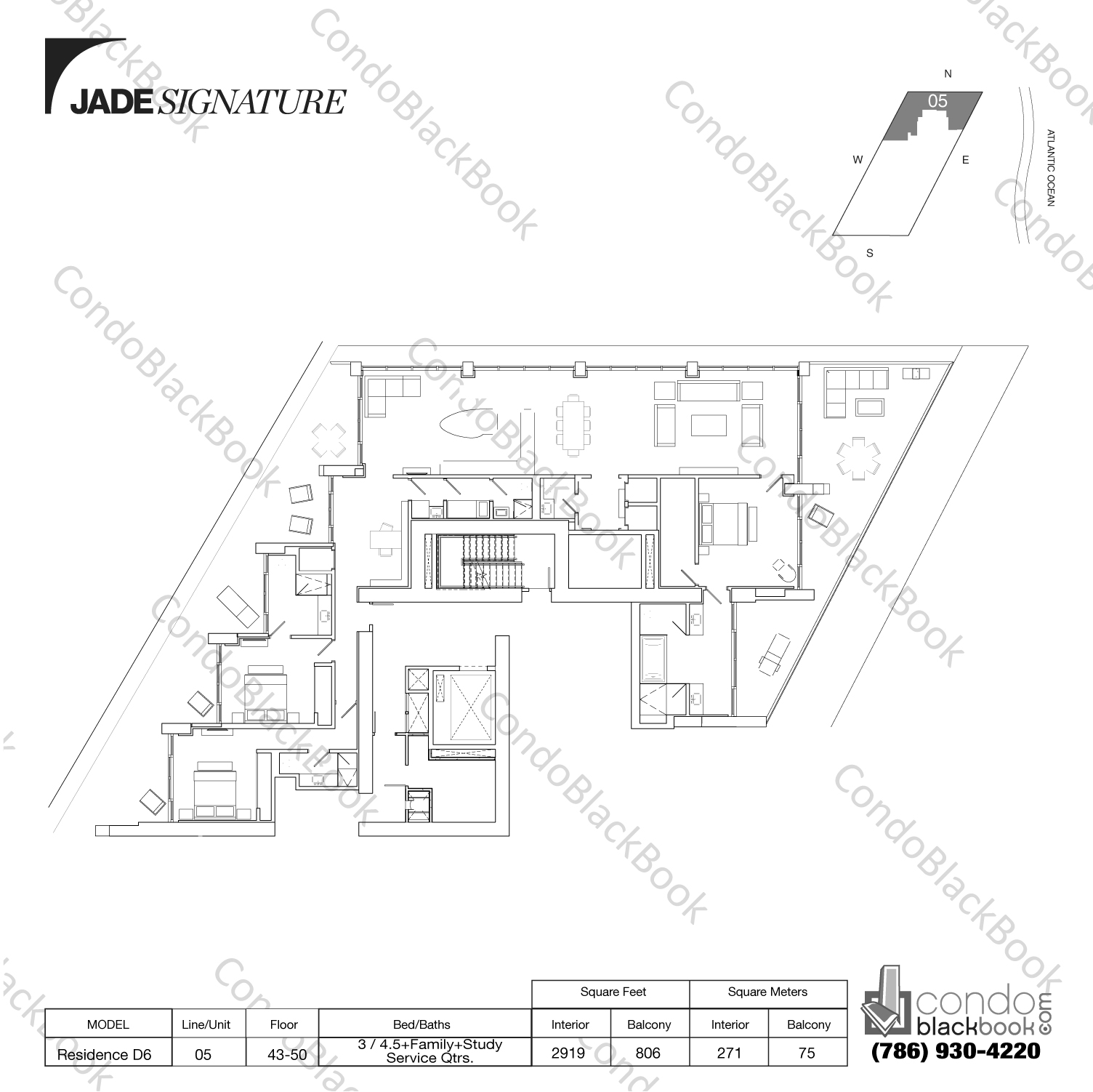Floor plan for Jade Signature Sunny Isles Beach, model Residence D6, line 05, 3 / 4.5+Study+Service Quarters bedrooms, 2919 sq ft