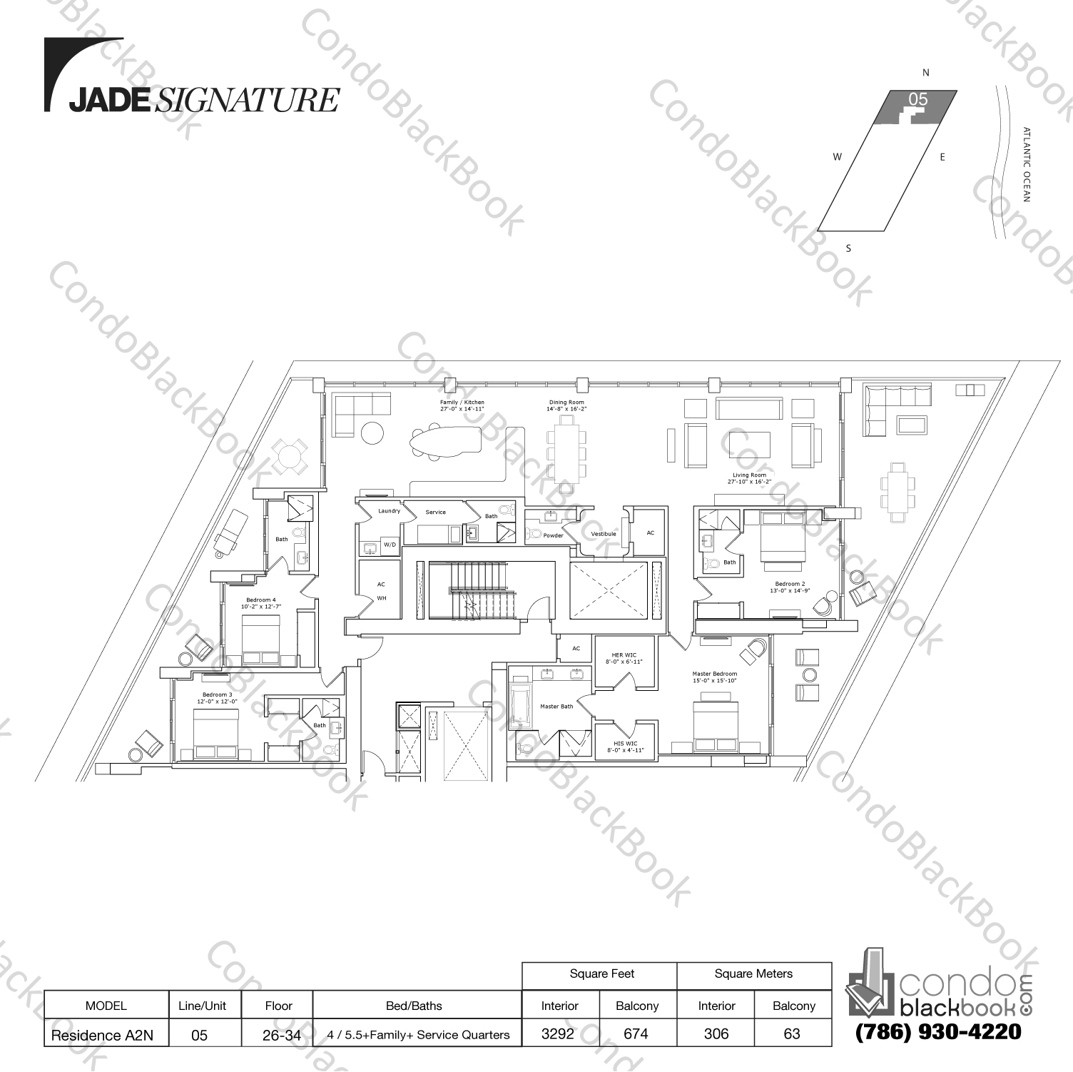 Floor plan for Jade Signature Sunny Isles Beach, model Residence A2N, line 05, 4 / 5.5+Family+ Service Quarters bedrooms, 3292 sq ft