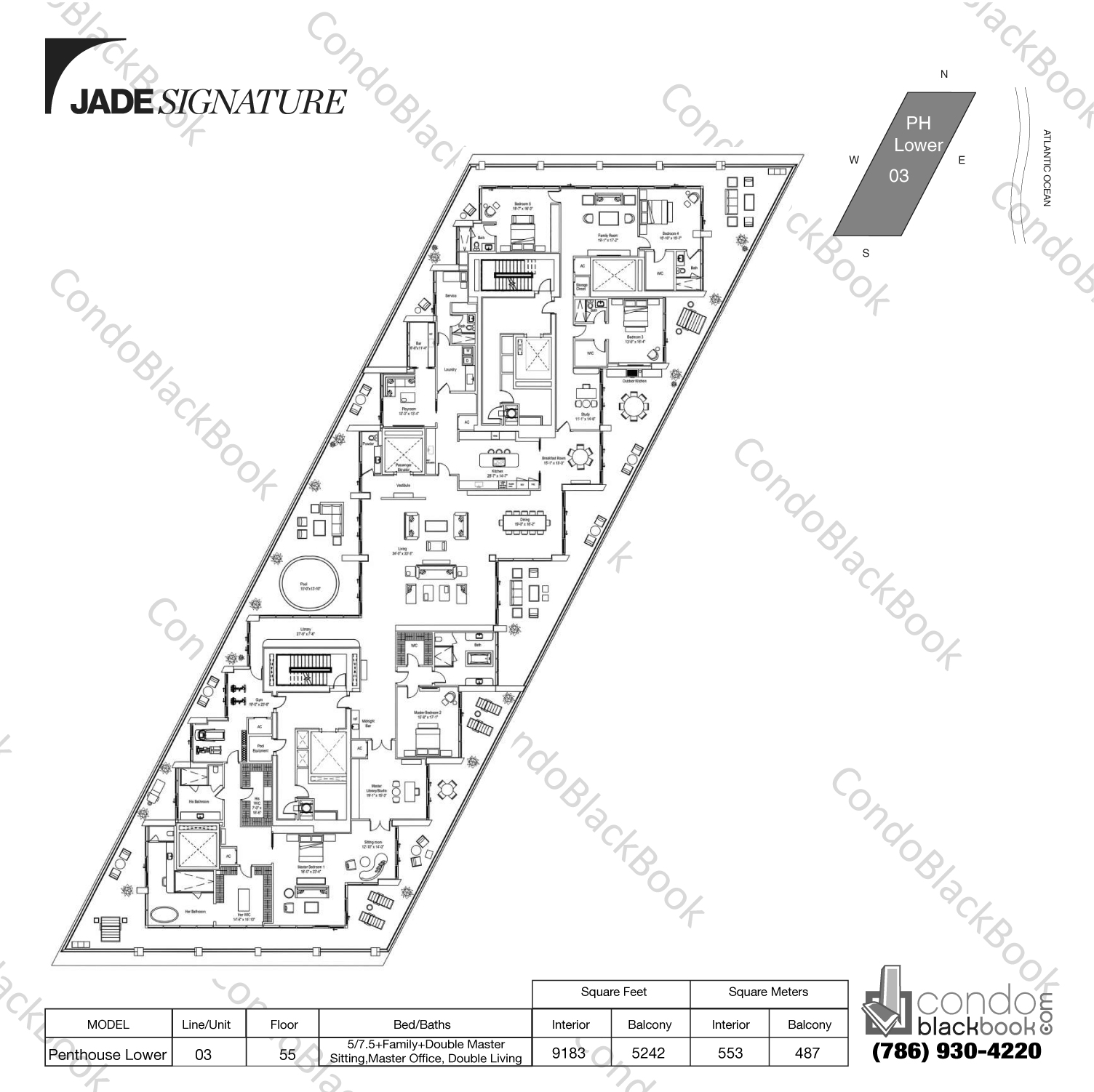 Floor plan for Jade Signature Sunny Isles Beach, model  Penthouse Lower, line 03, 5/7.5+Family+Double Master Sitting,Master Office bedrooms, 9183 sq ft
