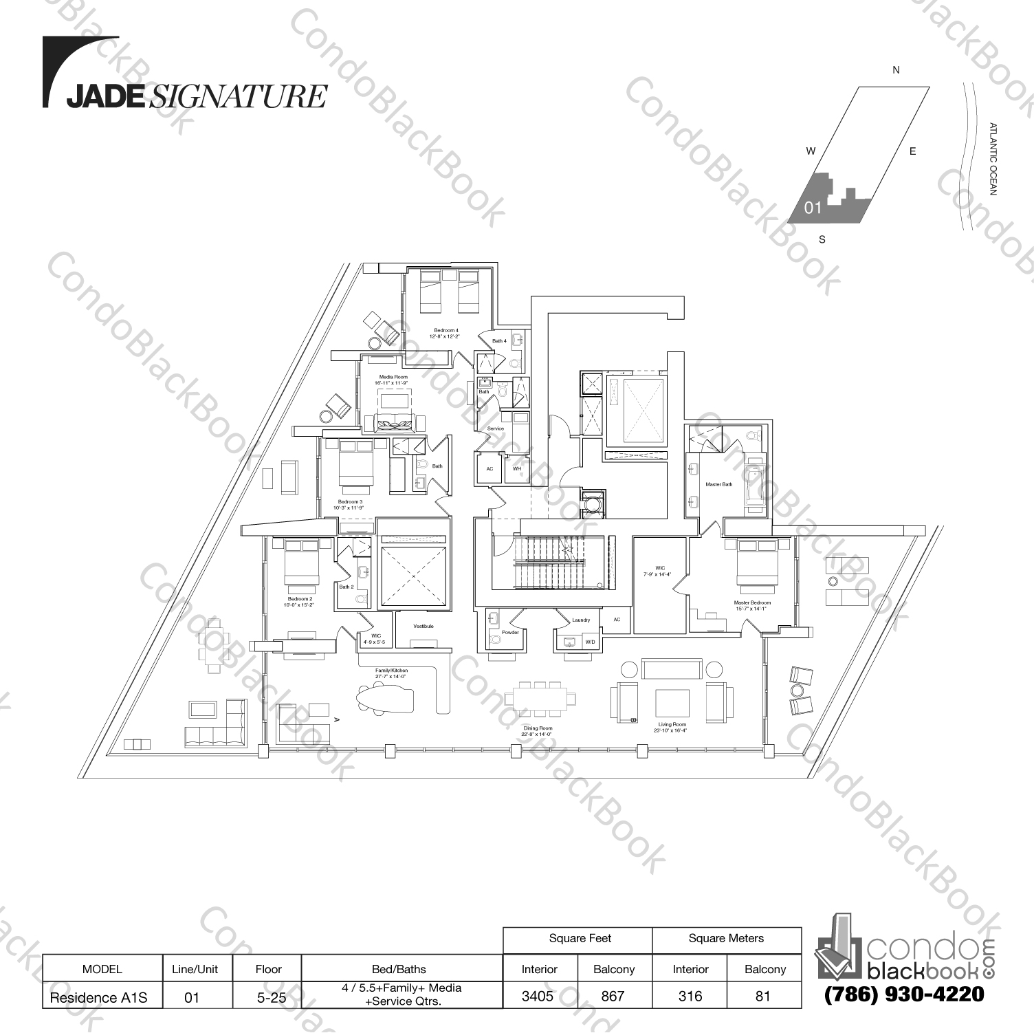 Floor plan for Jade Signature Sunny Isles Beach, model Residence A1S, line 01, 4 / 5.5+Family+Media+Service Qtrs. bedrooms, 3405 sq ft