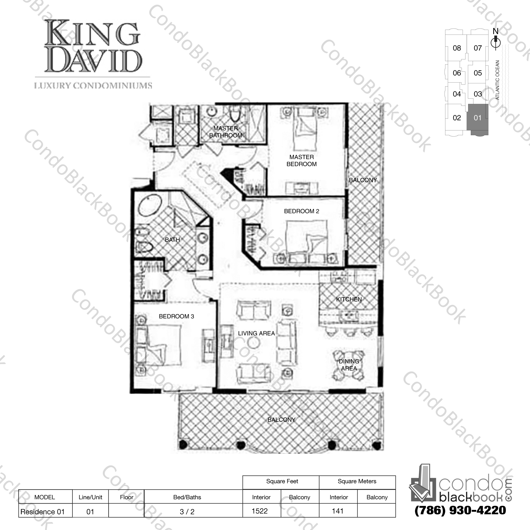 Floor plan for King David Sunny Isles Beach, model Residence 01, line 01, 3 / 2 bedrooms, 1522 sq ft