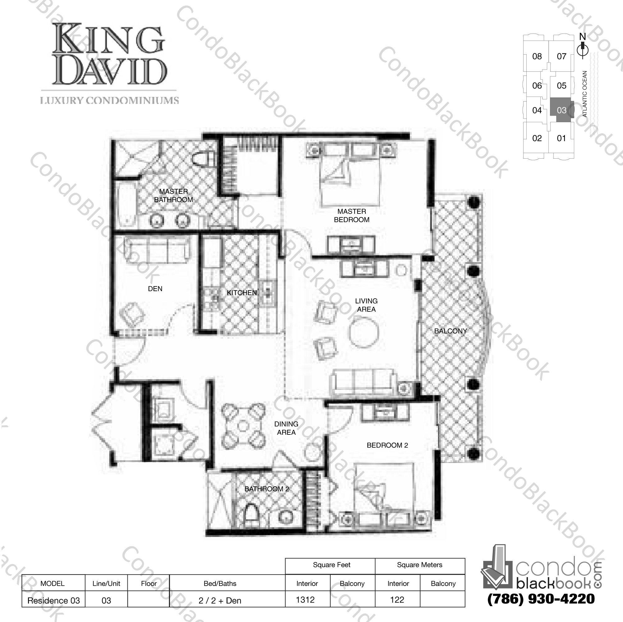 Floor plan for King David Sunny Isles Beach, model Residence 03, line 03, 2 / 2 + Den bedrooms, 1312 sq ft
