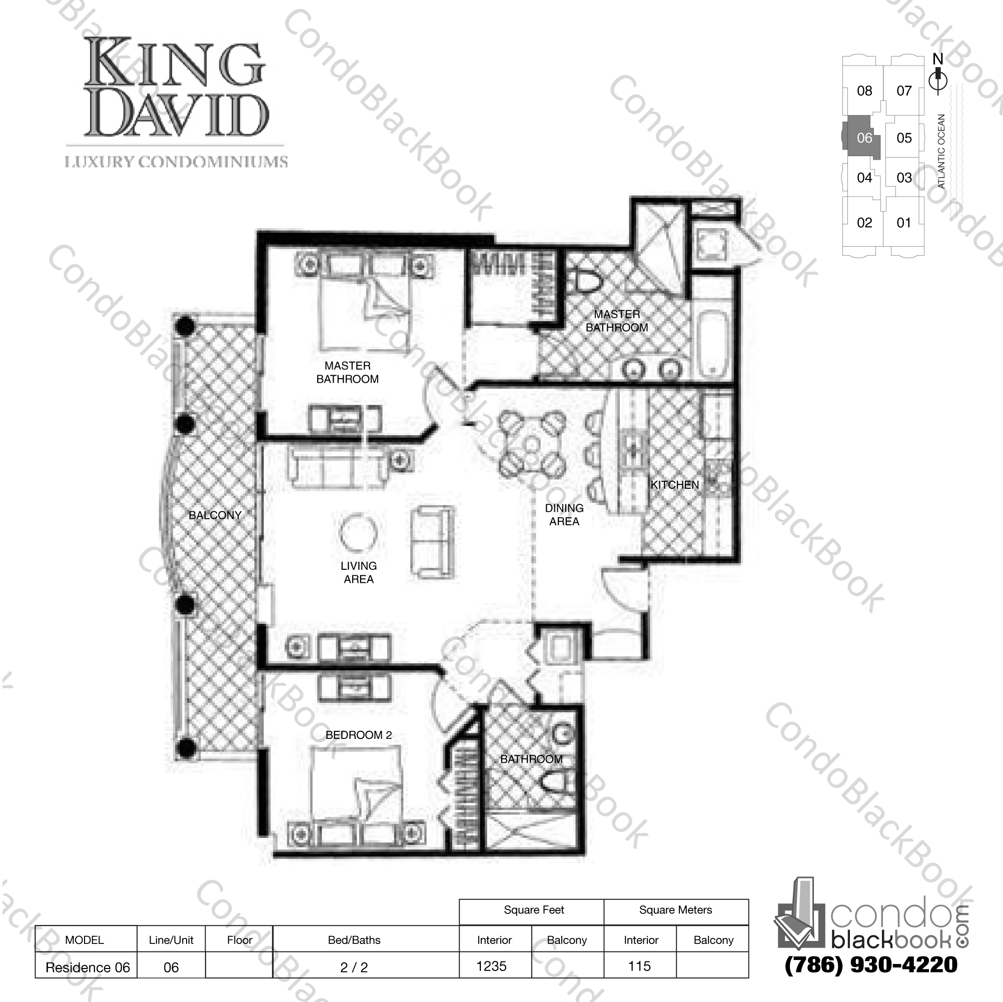 Floor plan for King David Sunny Isles Beach, model Residence 06, line 06, 2 / 2 bedrooms, 1235 sq ft