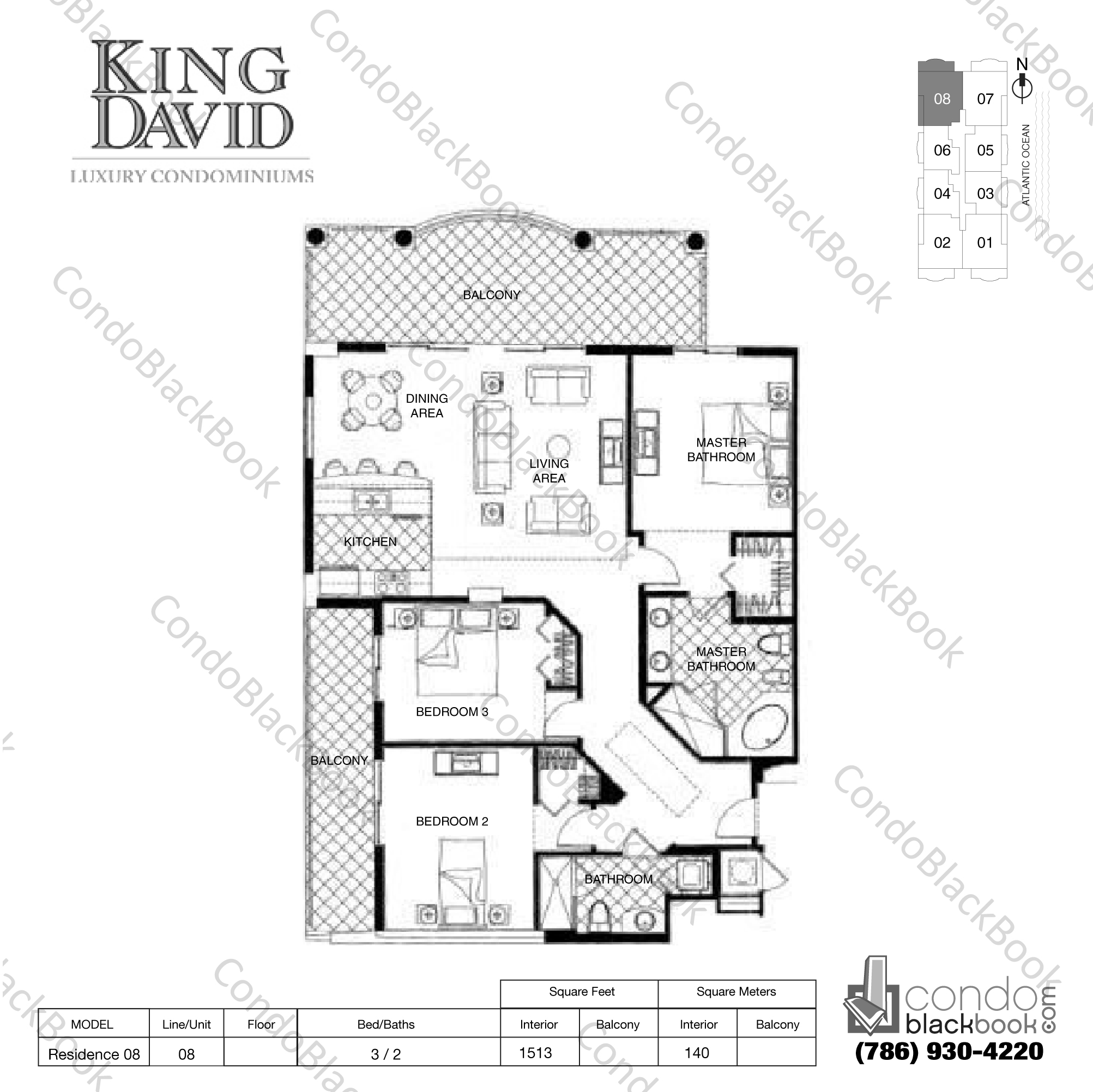 Floor plan for King David Sunny Isles Beach, model Residence 08, line 08, 3 / 2 bedrooms, 1513 sq ft
