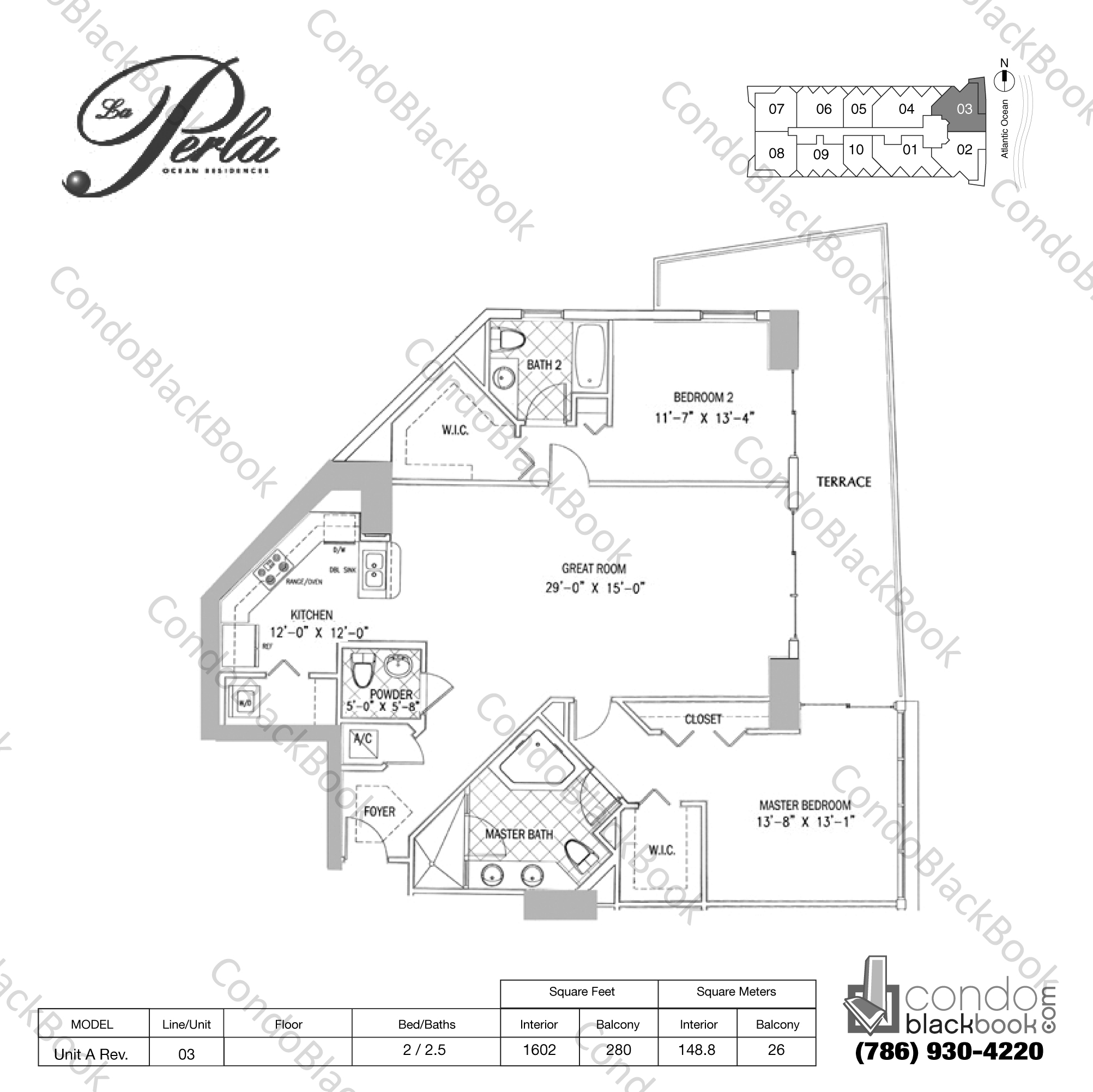 Floor plan for La Perla Sunny Isles Beach, model Unit A Rev., line 03, 2 / 2.5 bedrooms, 1602 sq ft