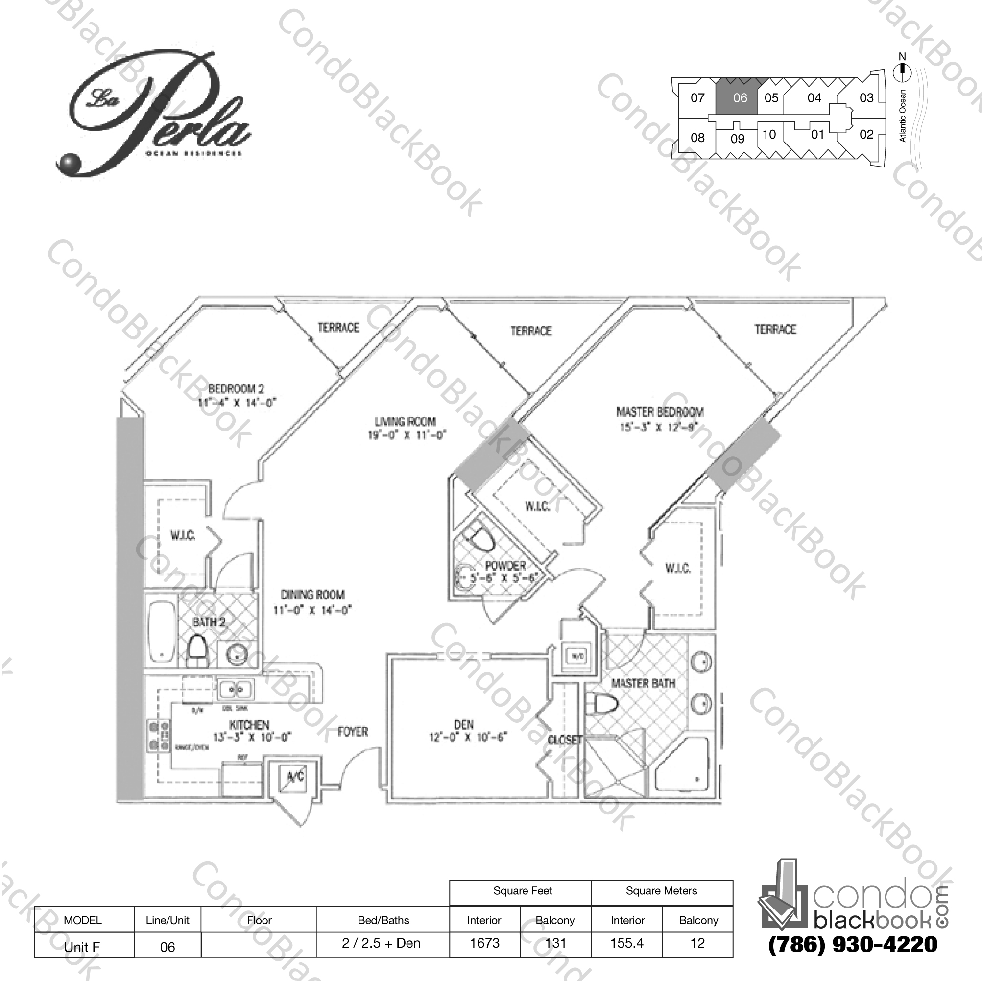 Floor plan for La Perla Sunny Isles Beach, model Unit F, line 06, 2 / 2.5 + Den bedrooms, 1673 sq ft