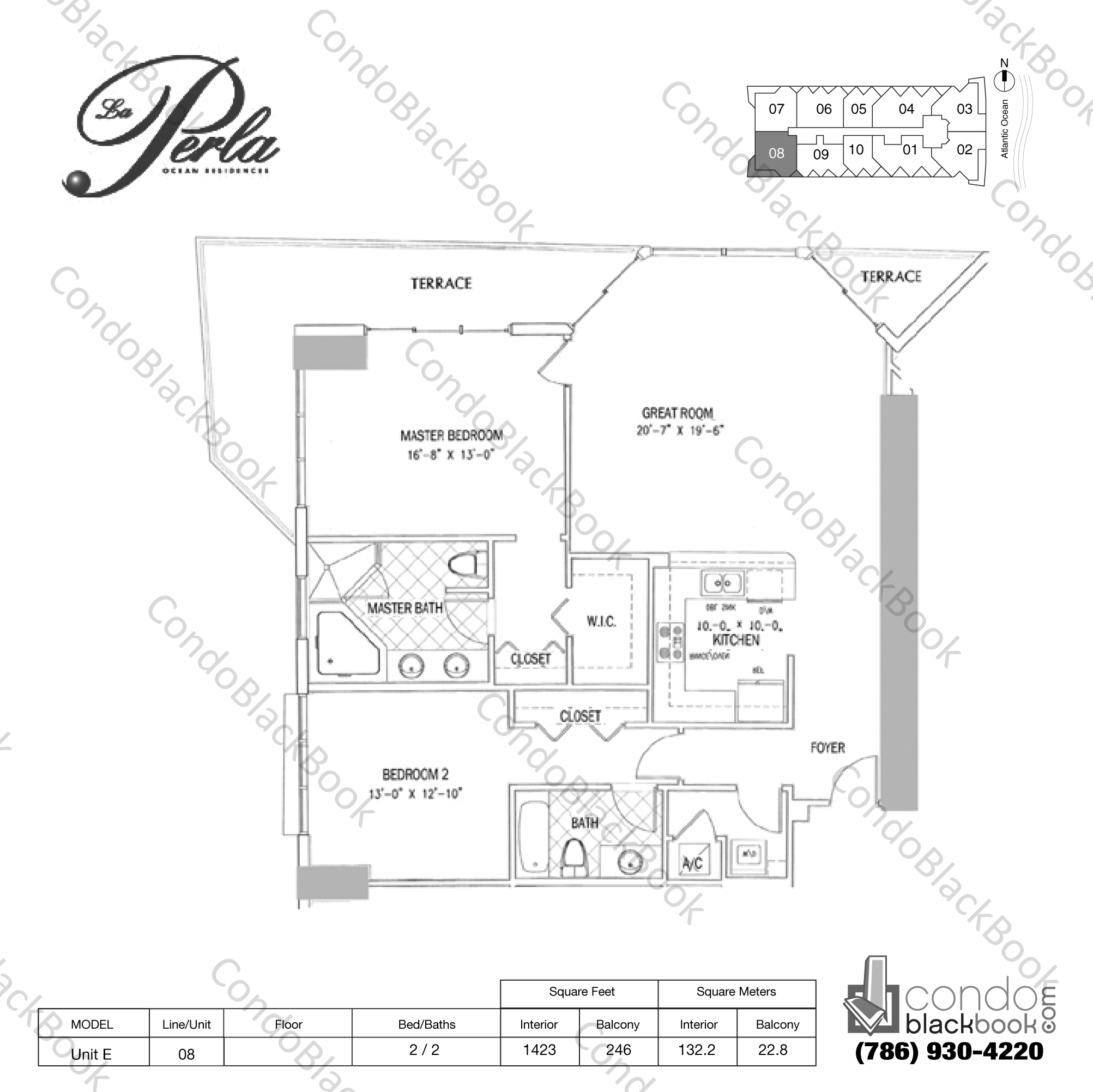 Floor plan for La Perla Sunny Isles Beach, model Unit E , line 08, 2 / 2  bedrooms, 1423 sq ft