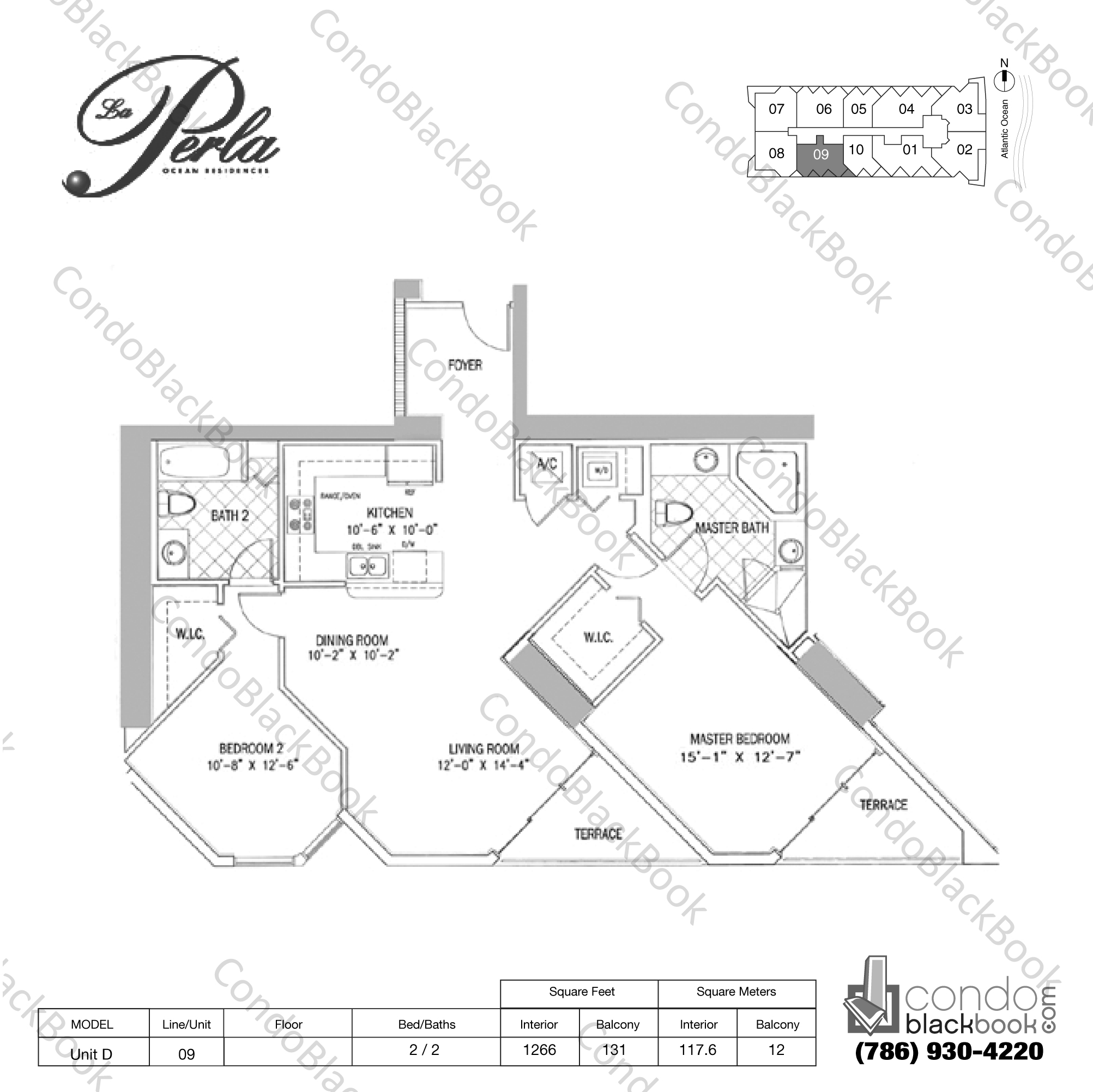 Floor plan for La Perla Sunny Isles Beach, model Unit D, line 09, 2 / 2 bedrooms, 1266 sq ft