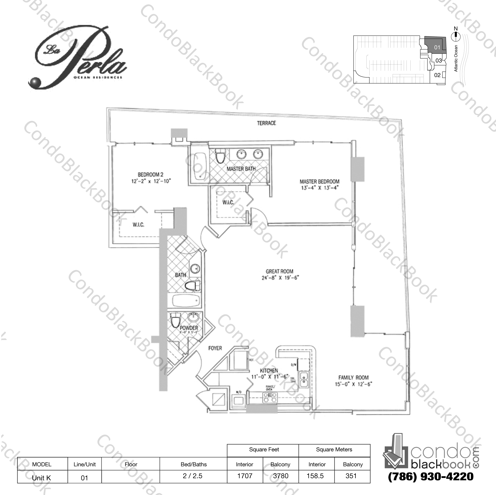 Floor plan for La Perla Sunny Isles Beach, model Unit K, line 01, 2 / 2.5 bedrooms, 1707 sq ft