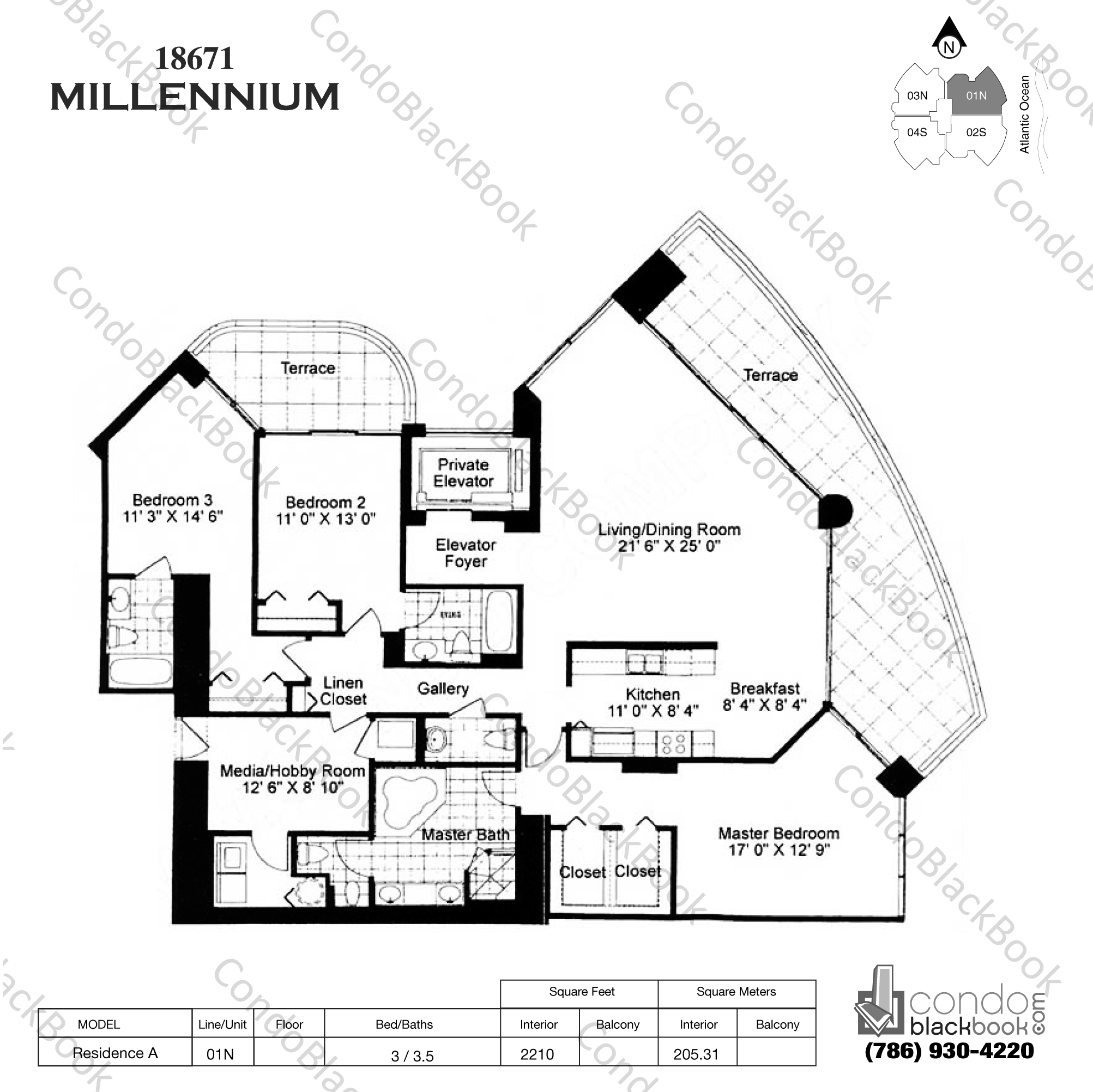 Floor plan for Millennium Sunny Isles Beach, model Res. AN, line 01, 3 / 3.5 bedrooms, 2210 sq ft