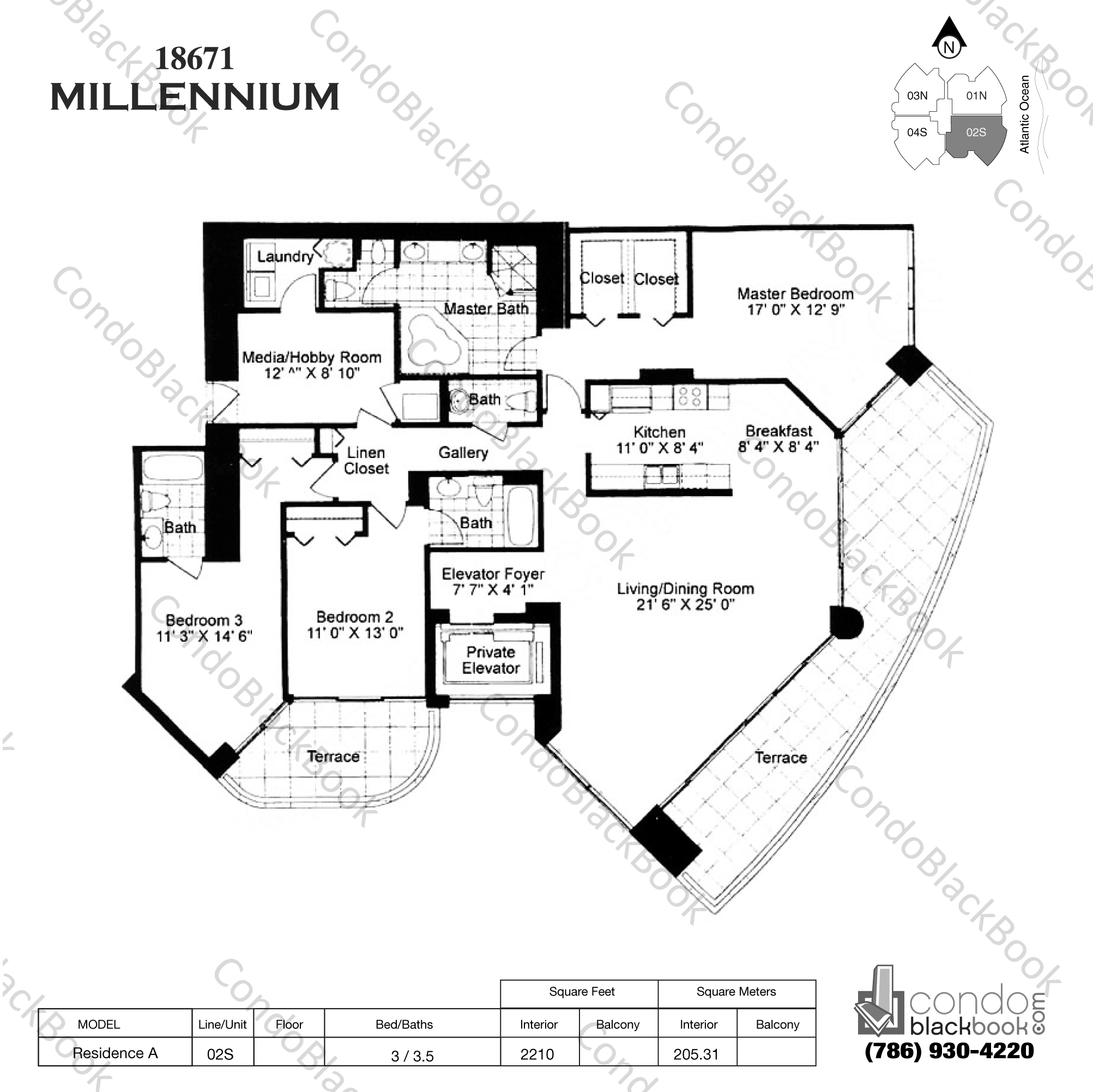 Floor plan for Millennium Sunny Isles Beach, model Res. AS, line 02, 3 / 3.5 bedrooms, 2210 sq ft