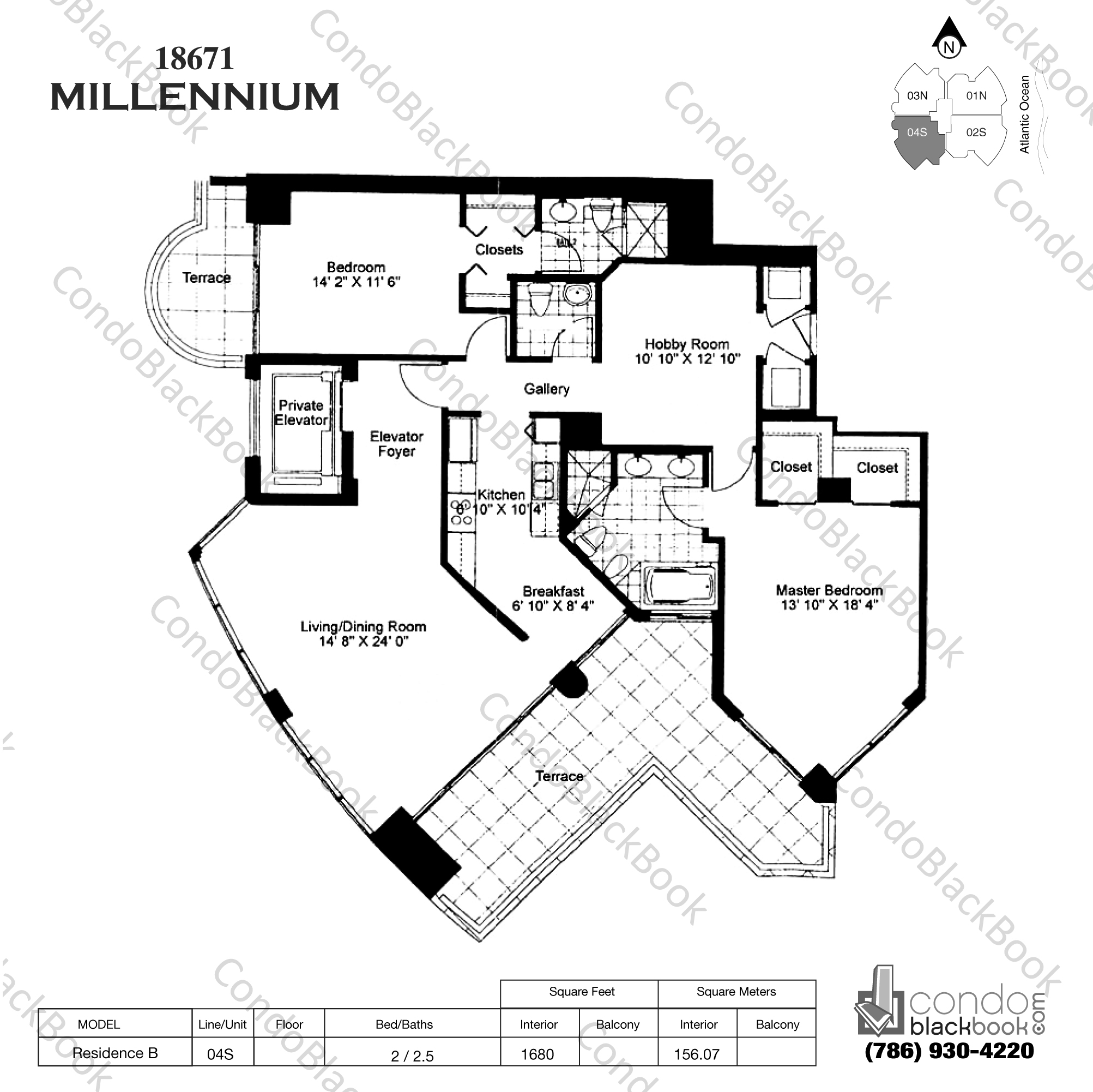 Floor plan for Millennium Sunny Isles Beach, model Res. BS, line 04, 2 / 2.5 bedrooms, 1680 sq ft