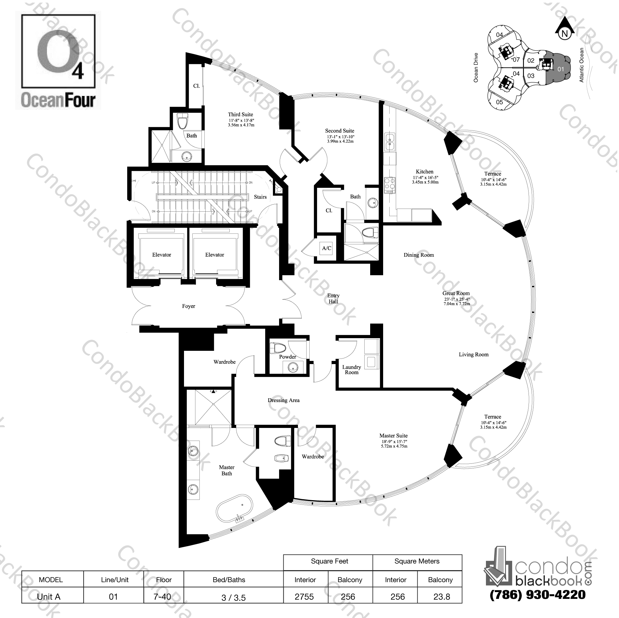 Floor plan for Ocean Four Sunny Isles Beach, model Unit A, line 01, 3 / 3.5 bedrooms, 2755 sq ft