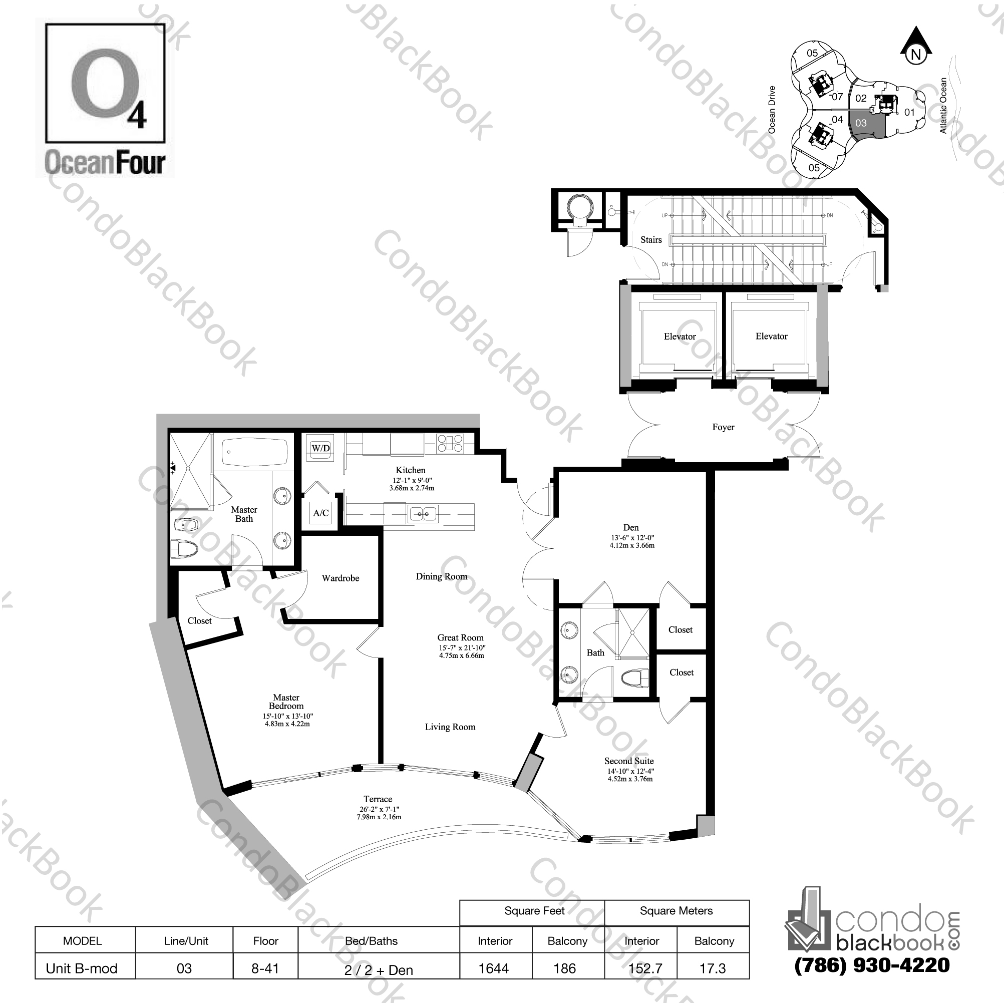 Floor plan for Ocean Four Sunny Isles Beach, model Unit B-mod, line 03, 2 / 2 + Den bedrooms, 1644 sq ft