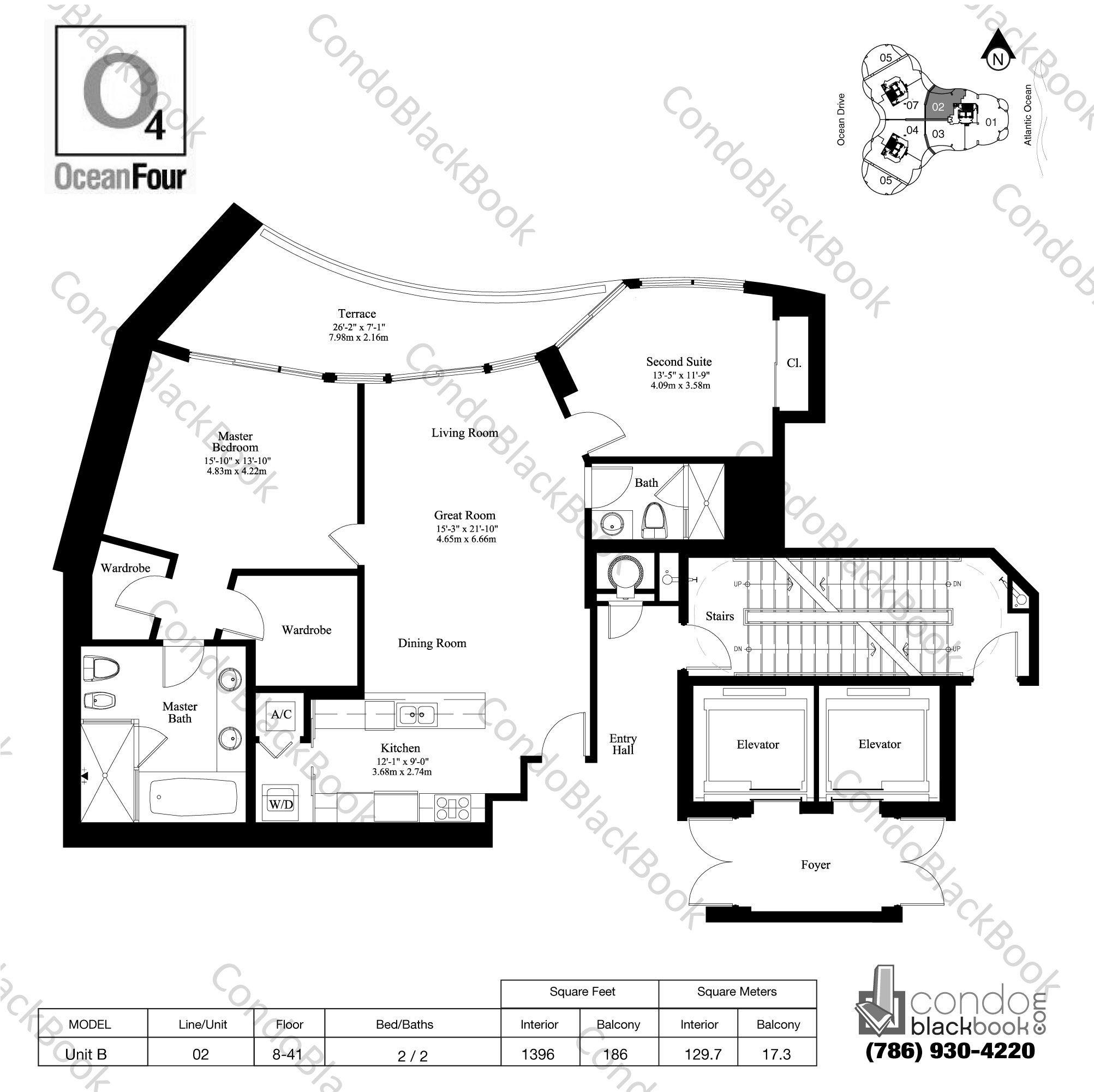 Floor plan for Ocean Four Sunny Isles Beach, model Unit B, line 02, 2 / 2 bedrooms, 1396 sq ft