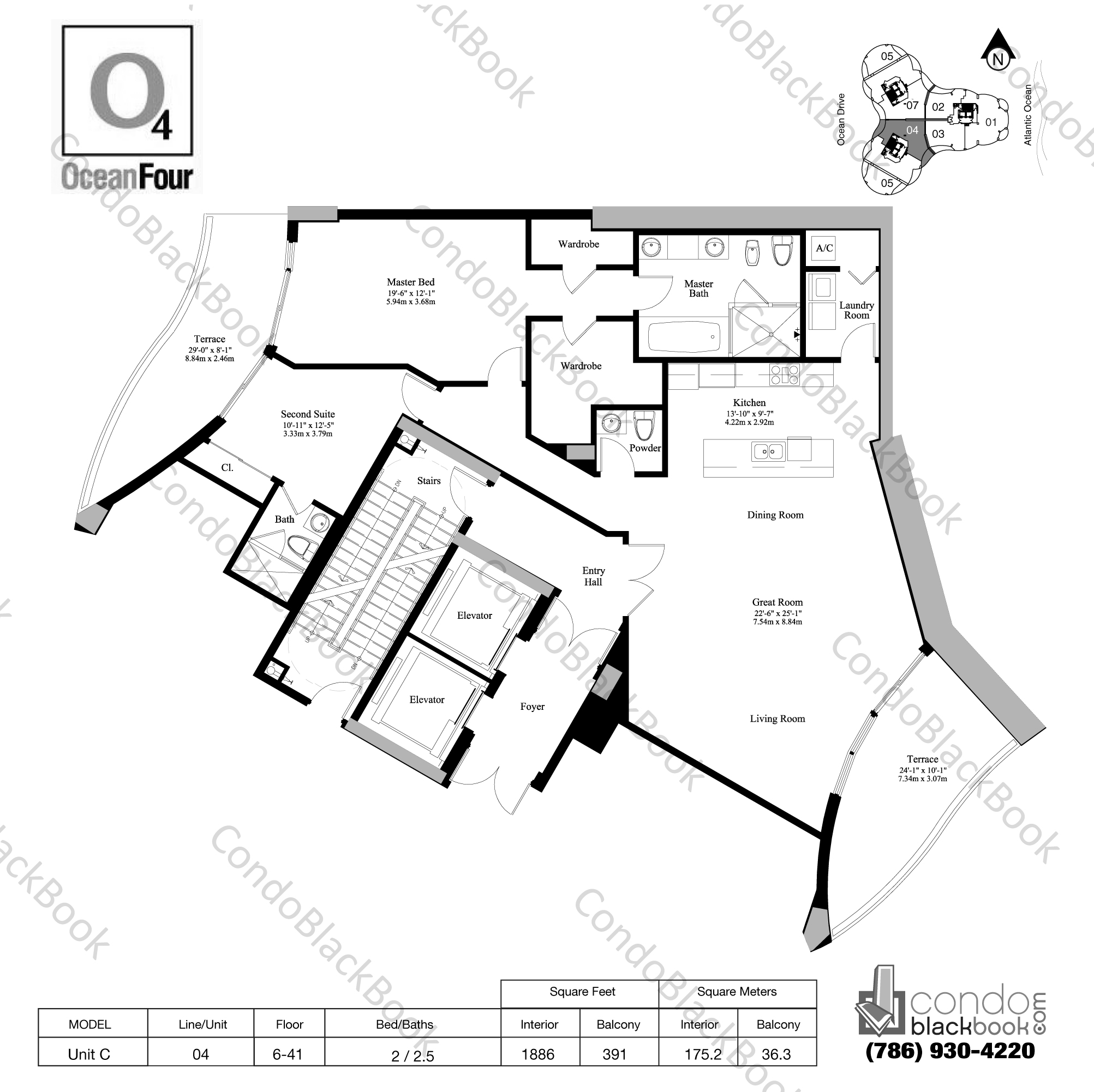 Floor plan for Ocean Four Sunny Isles Beach, model Unit C, line 04, 2 / 2.5 bedrooms, 1886 sq ft