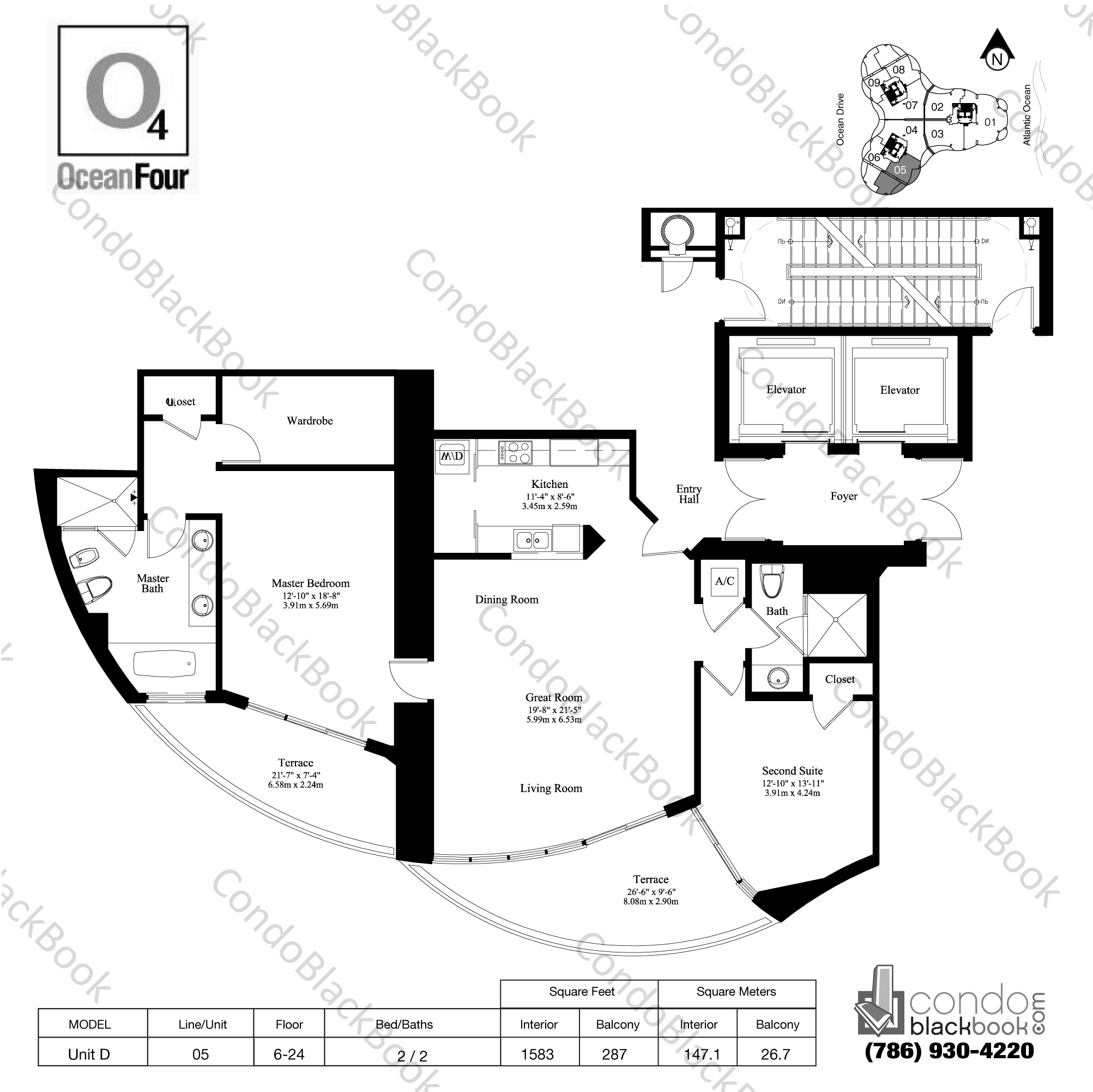 Floor plan for Ocean Four Sunny Isles Beach, model Unit D, line 05, 2 / 2 bedrooms, 1583 sq ft