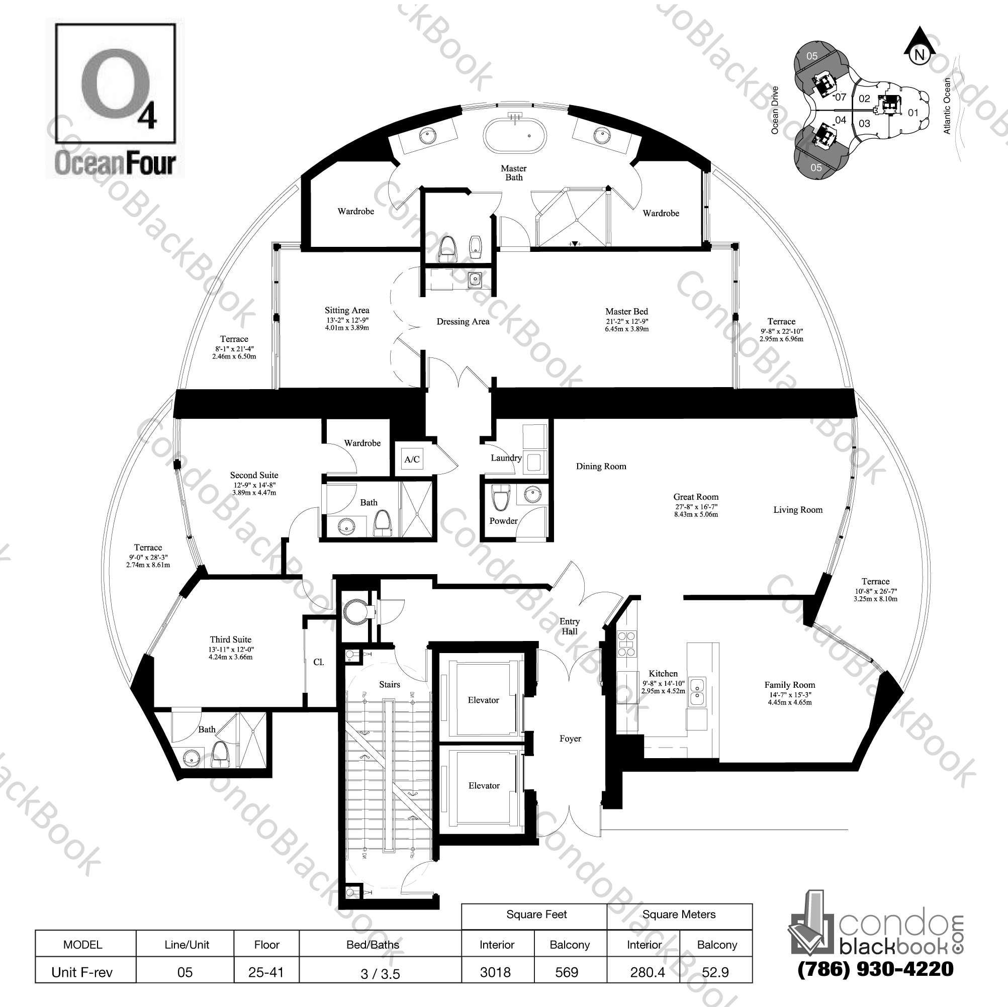 Floor plan for Ocean Four Sunny Isles Beach, model Unit F-rev, line 05, 3 / 3.5 bedrooms, 3018 sq ft