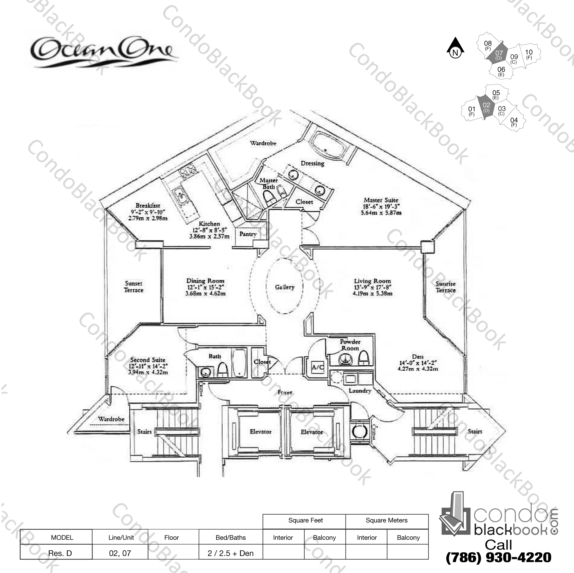 Floor plan for Ocean One Sunny Isles Beach, model Residence D, line 02, 07, 2 / 2.5 + Den bedrooms