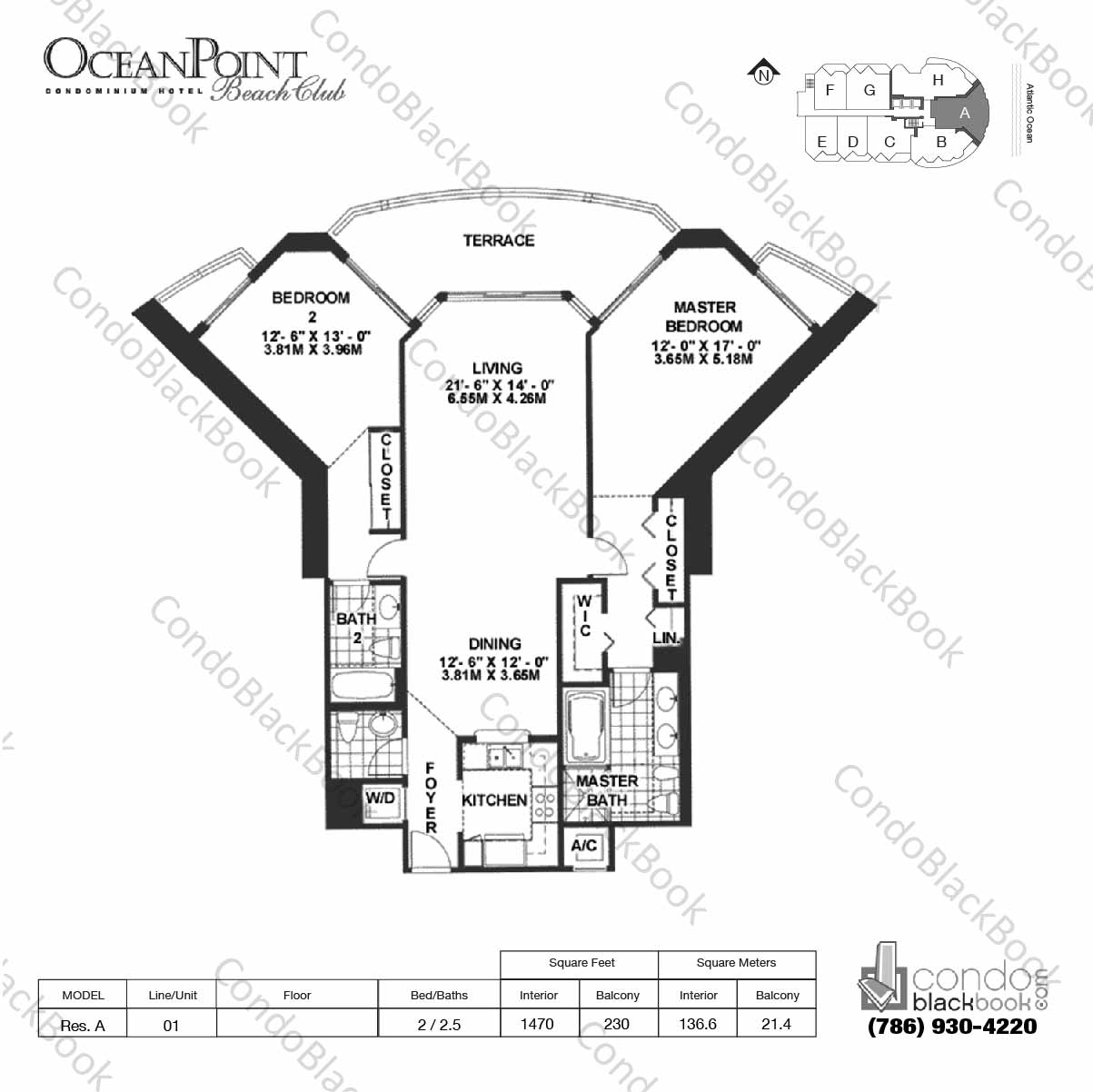 Floor plan for Ocean Point Beach Club Sunny Isles Beach, model Res. A, line 01, 2 / 2.5 bedrooms, 1470 sq ft