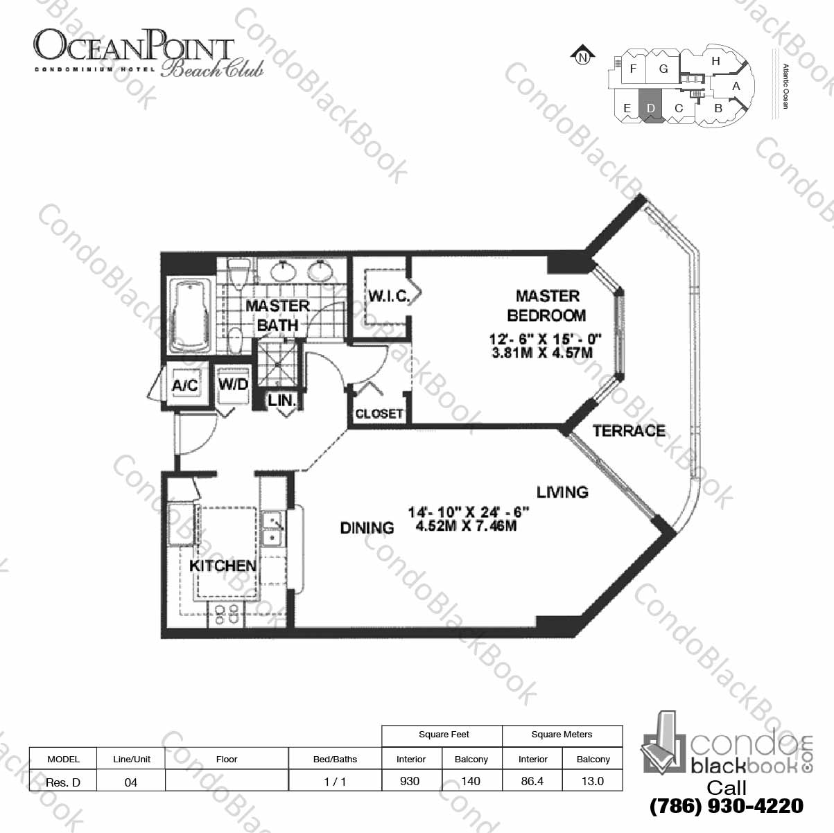 Floor plan for Ocean Point Beach Club Sunny Isles Beach, model Res. D, line 04, 1 / 1 bedrooms, 930 sq ft