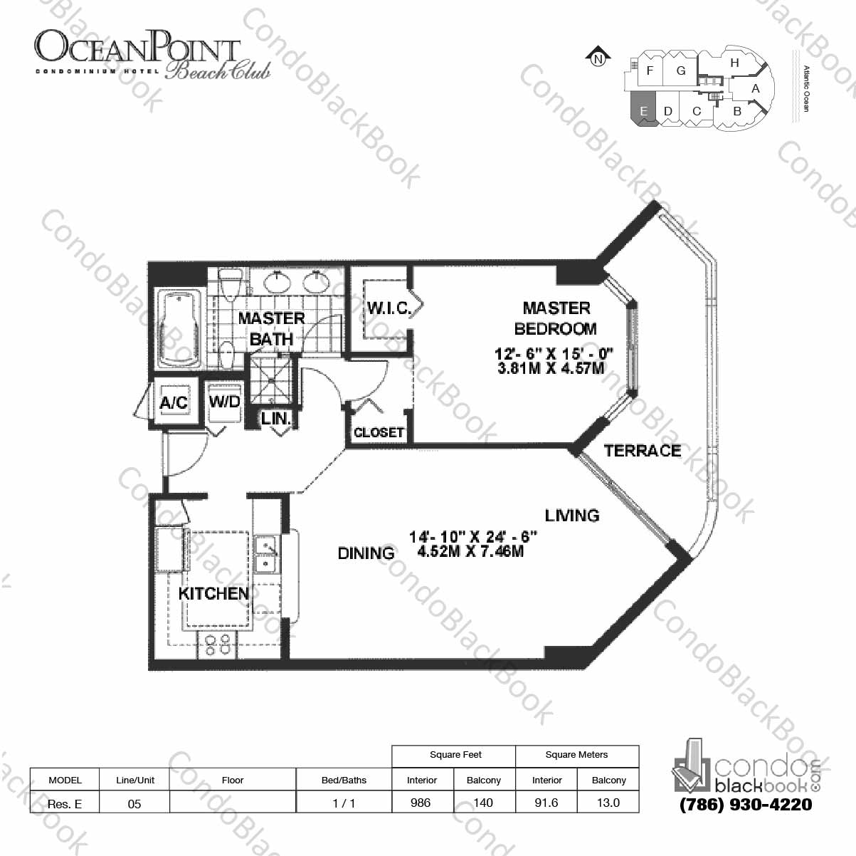 Floor plan for Ocean Point Beach Club Sunny Isles Beach, model Res. E, line 05, 1 / 1 bedrooms, 986 sq ft