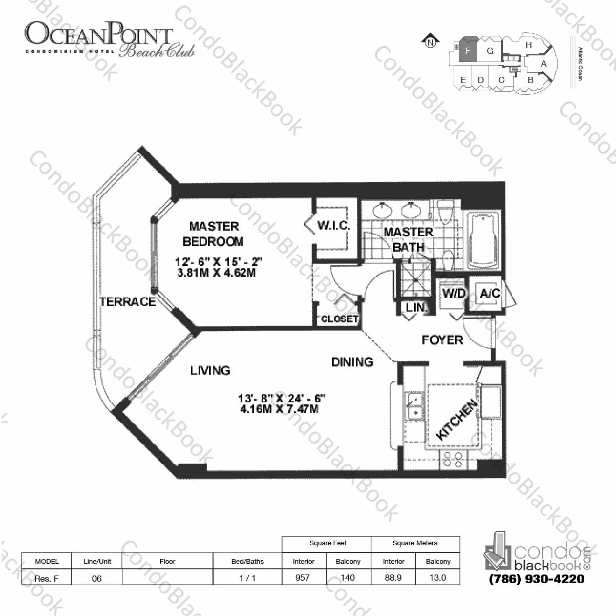 Floor plan for Ocean Point Beach Club Sunny Isles Beach, model Res. F, line 06, 1 / 1 bedrooms, 957 sq ft