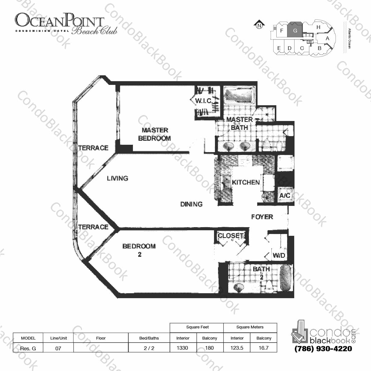 Floor plan for Ocean Point Beach Club Sunny Isles Beach, model Res. G, line 07, 2 / 2 bedrooms, 1330 sq ft