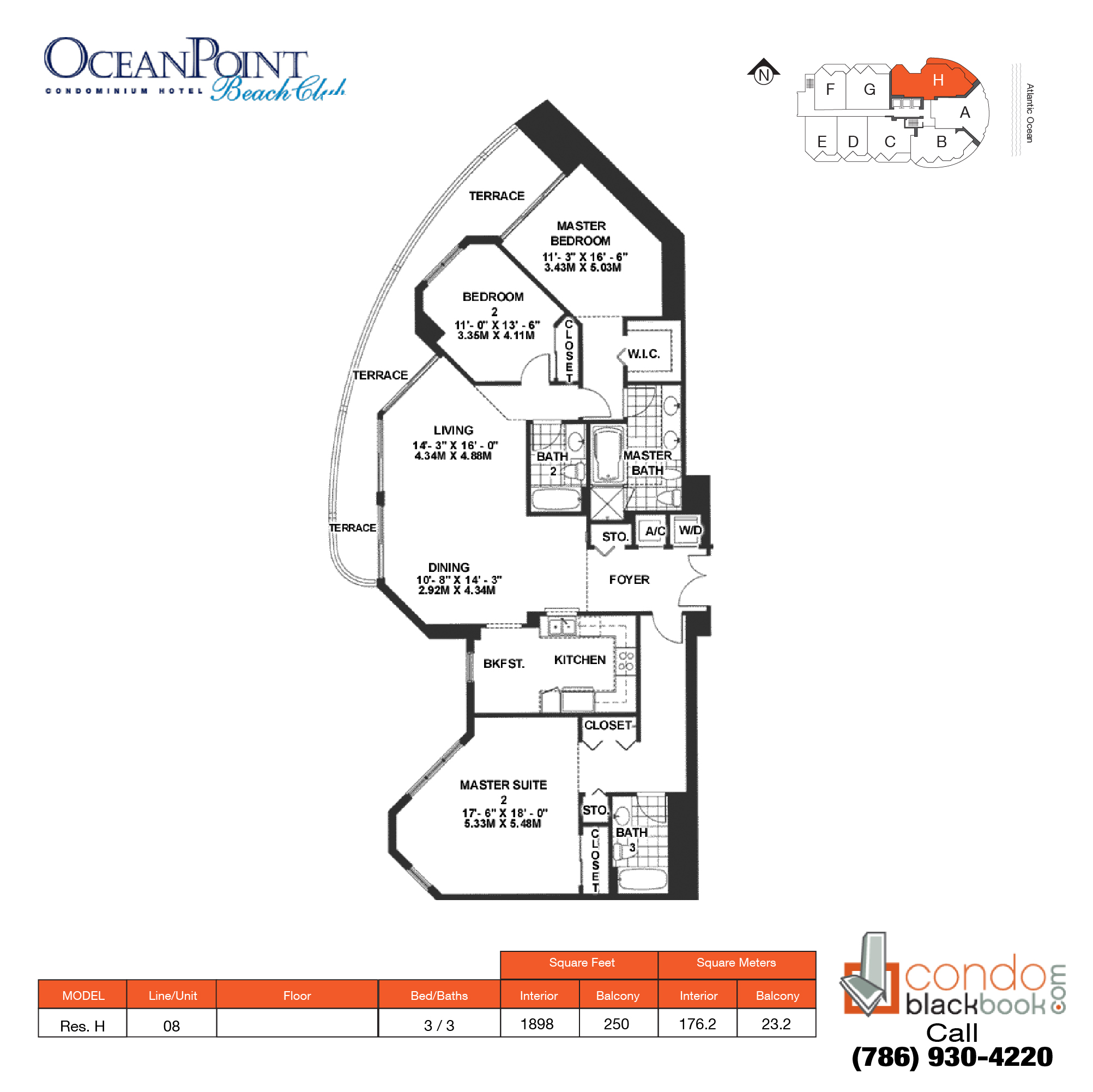 Floor plan for Ocean Point Beach Club Sunny Isles Beach, model Res.  H, line 08, 2 / 2 bedrooms, 1898 sq ft