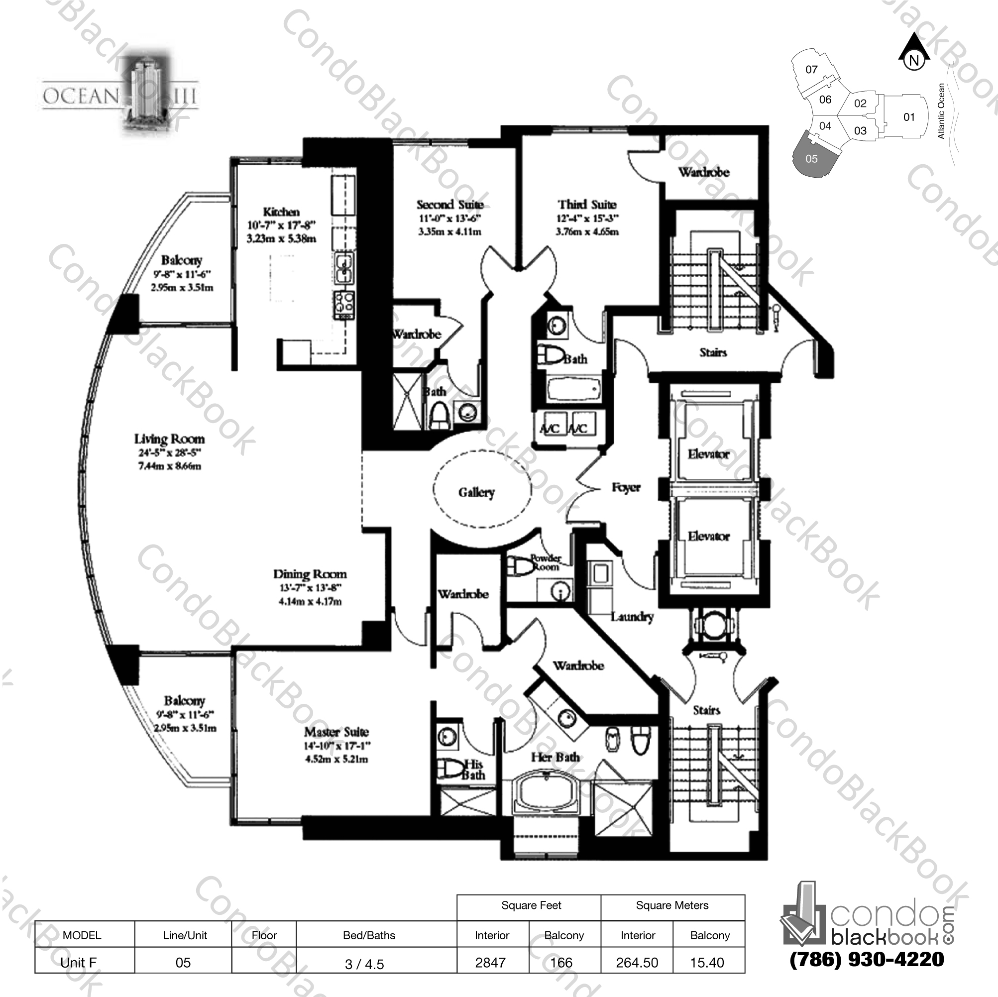 Floor plan for Ocean Three Sunny Isles Beach, model Unit F, line 05, 3 / 4.5 bedrooms, 2847 sq ft