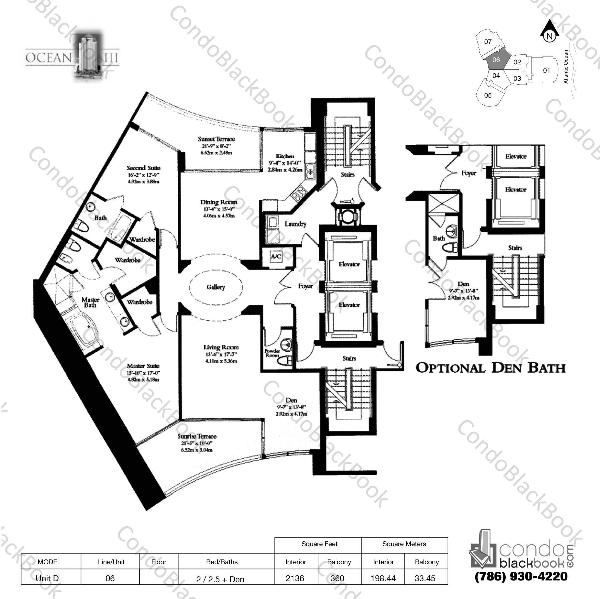 Floor plan for Ocean Three Sunny Isles Beach, model Unit D, line 06, 2 / 2.5 + Den bedrooms, 2136 sq ft