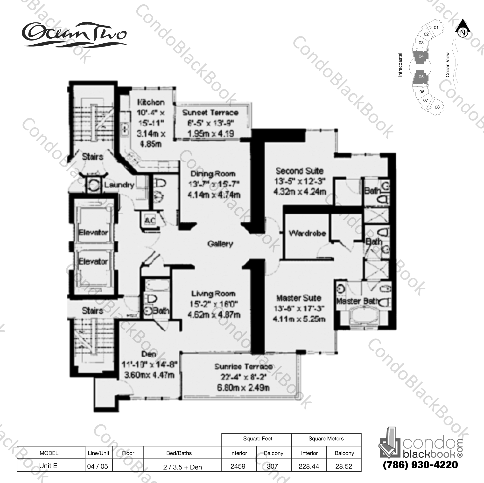 Floor plan for Ocean Two Sunny Isles Beach, model Unit E, line 04 , 05, 2 / 3.5 + Den bedrooms, 2459 sq ft