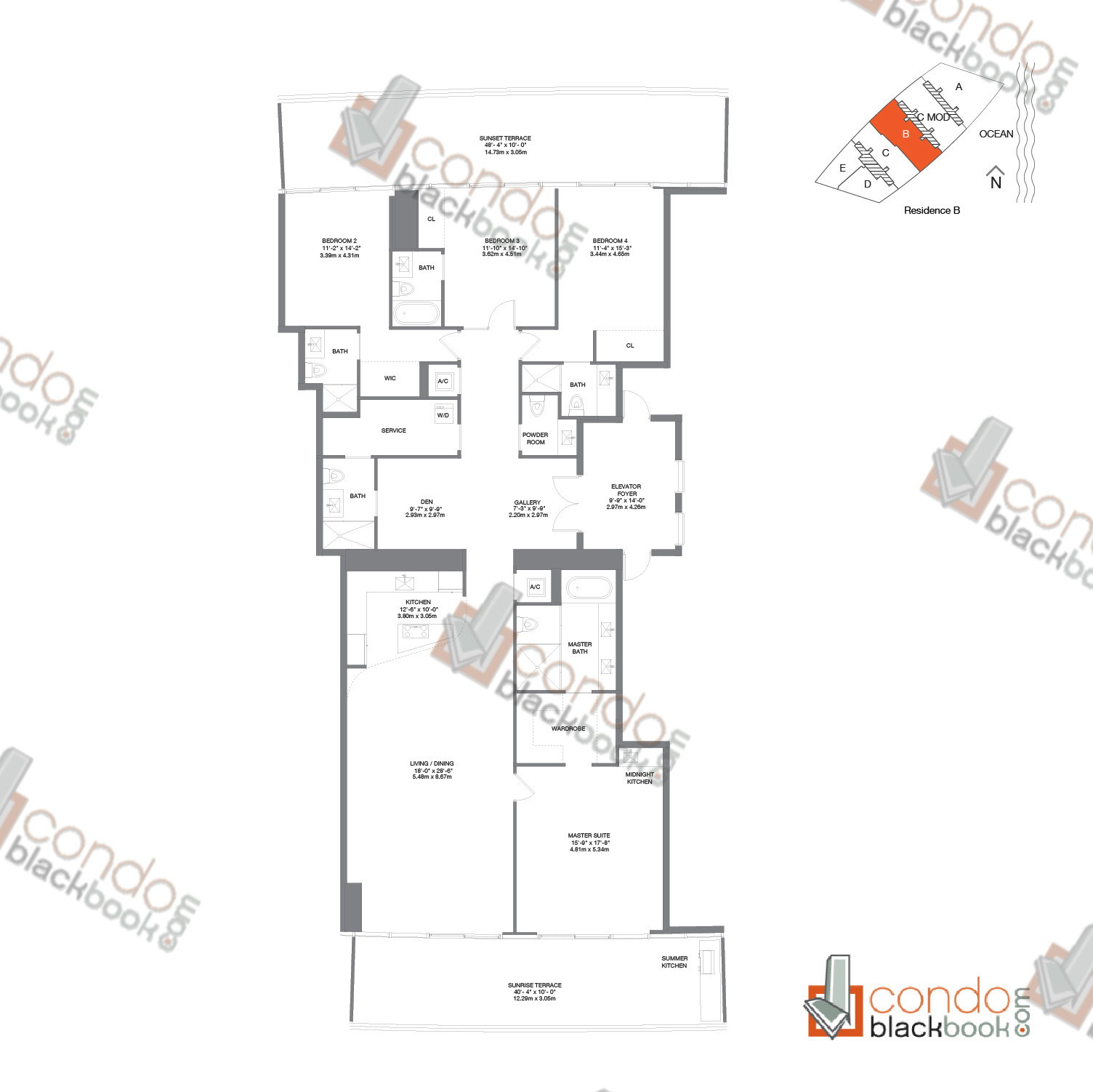 Floor plan for Residences by Armani Casa Sunny Isles Beach, model Residence B, line B, 4/5.5 + den bedrooms, 3,176 sq ft