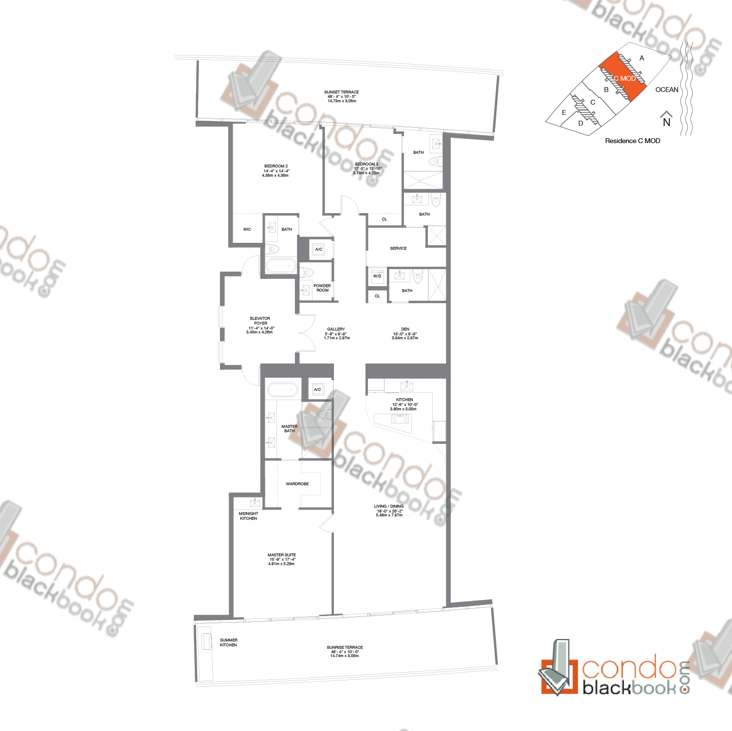 Floor plan for Residences by Armani Casa Sunny Isles Beach, model Residence C MOD, line C, 3/5.5 + den bedrooms, 3,050 sq ft