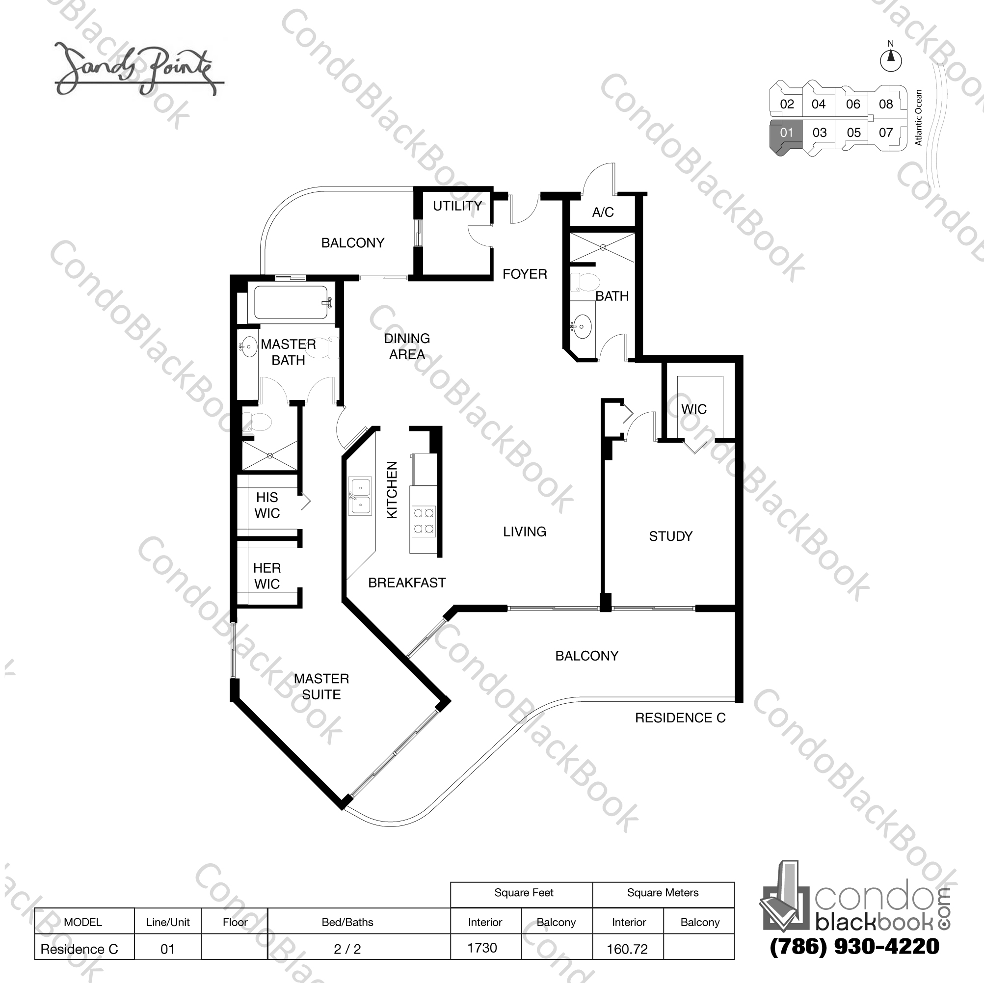 Floor plan for Sands Pointe Sunny Isles Beach, model Residence C, line 01, 2 / 2 bedrooms, 1730 sq ft