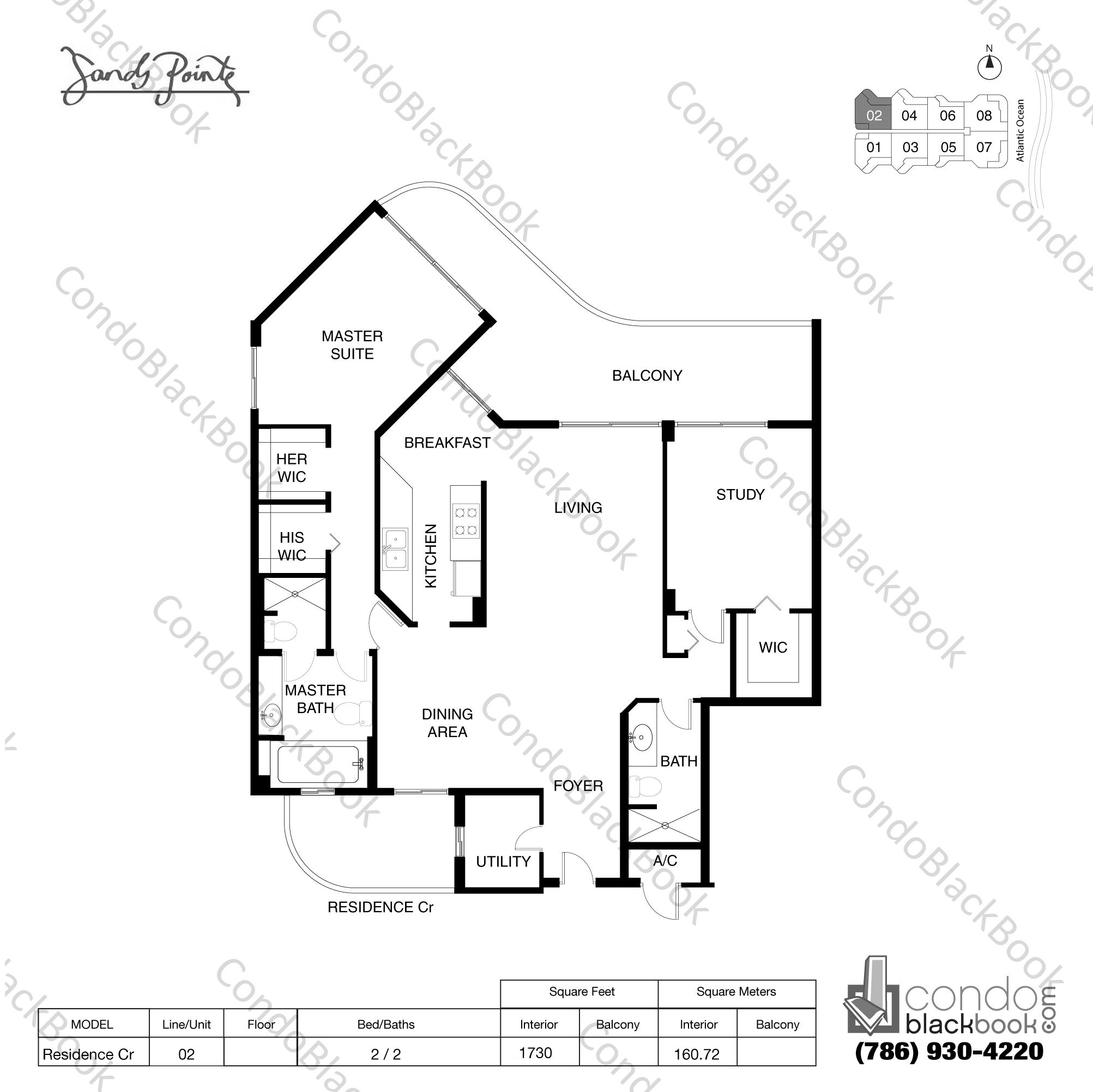 Floor plan for Sands Pointe Sunny Isles Beach, model Residence Cr, line 02, 2 / 2 bedrooms, 1730 sq ft