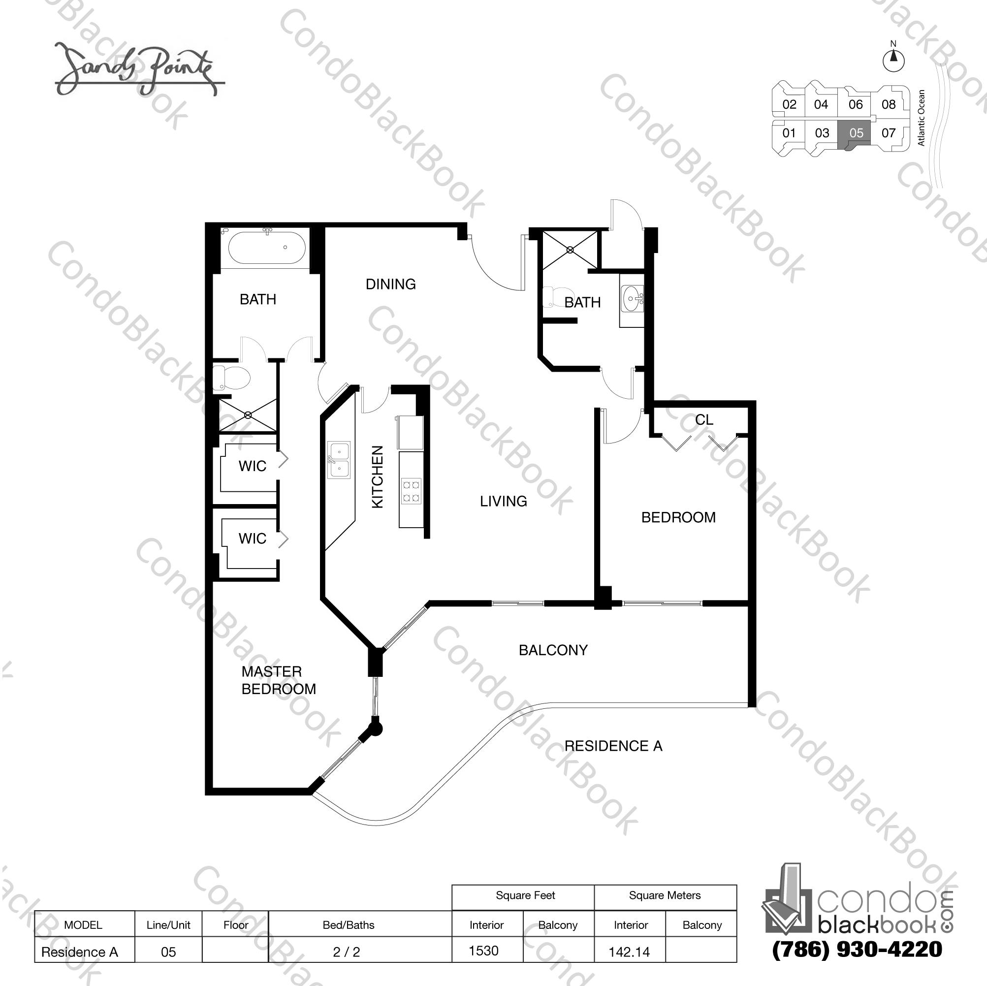 Floor plan for Sands Pointe Sunny Isles Beach, model Residence A, line 05, 2 / 2 bedrooms, 1520 sq ft
