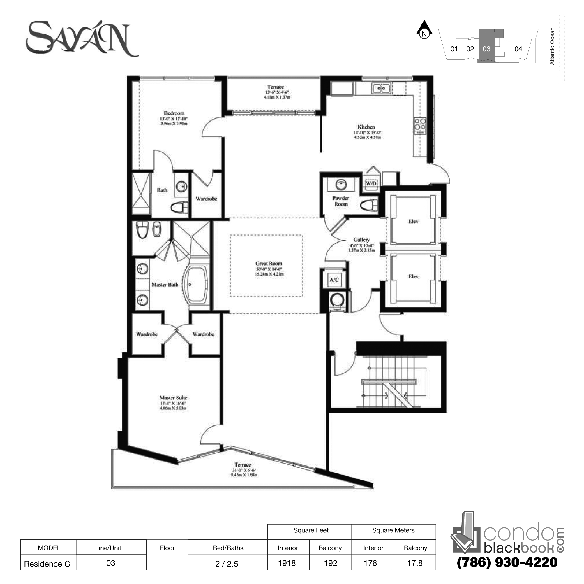 Floor plan for Sayan Sunny Isles Beach, model Residence C, line 03, 2 / 2.5 bedrooms, 1918 sq ft