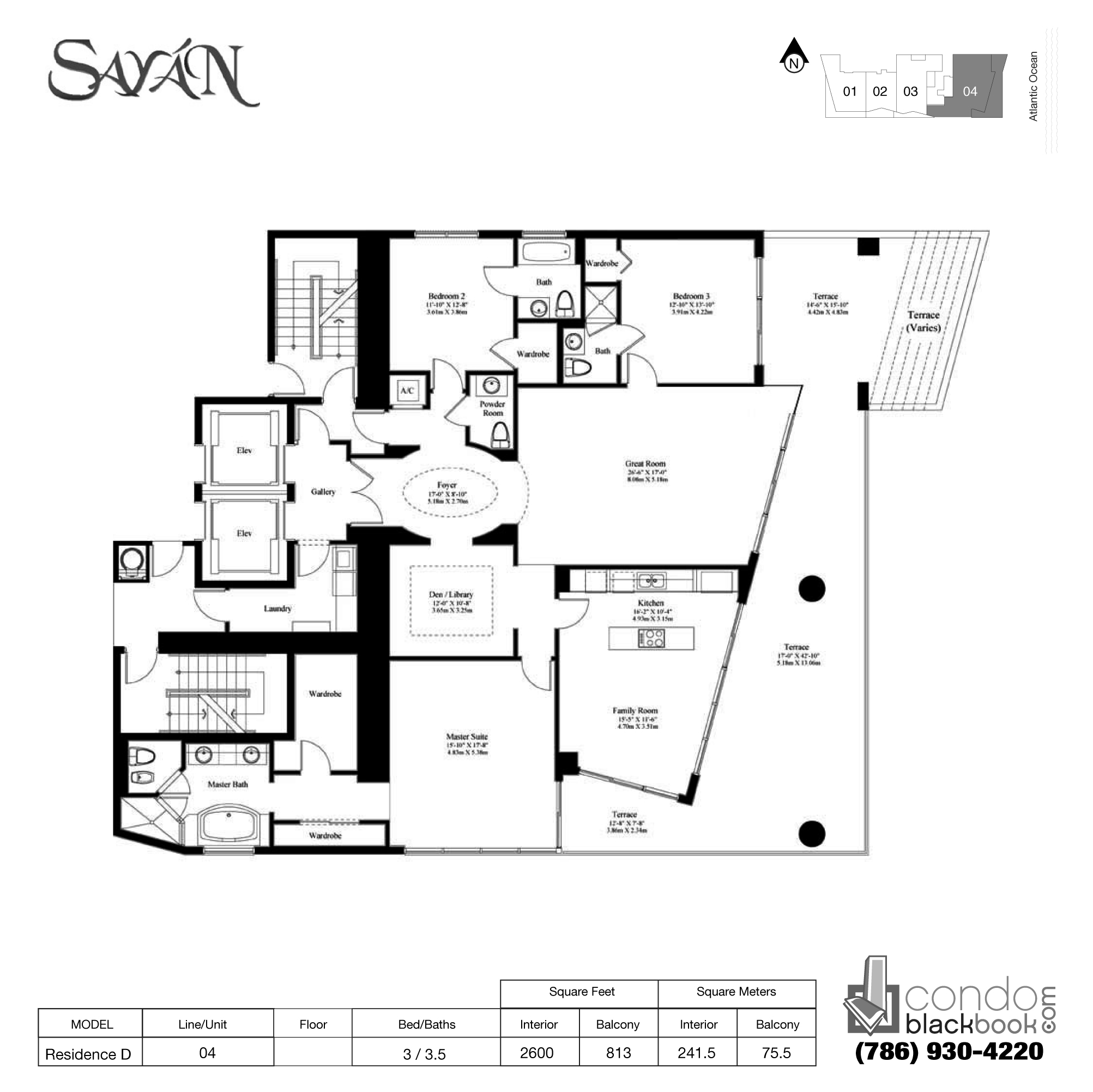 Floor plan for Sayan Sunny Isles Beach, model Residence D, line 04, 3/ 3.5 bedrooms, 2600 sq ft