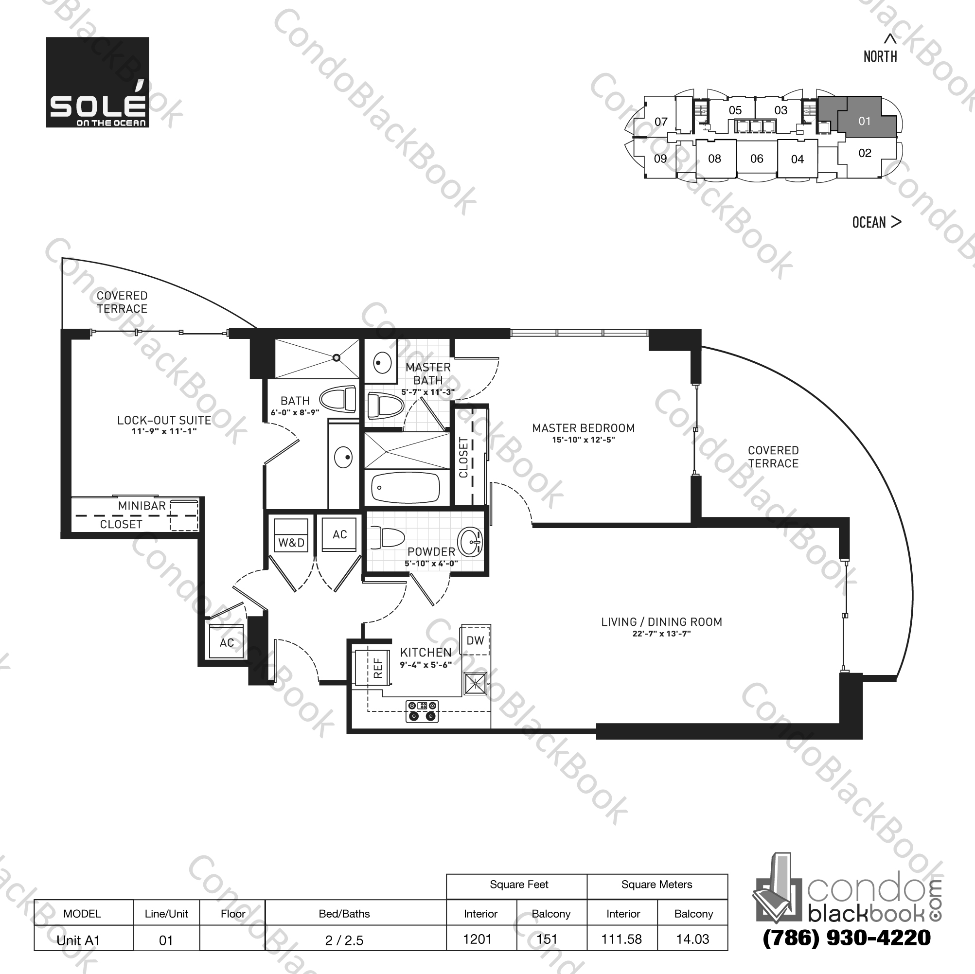Floor plan for Sole Sunny Isles Beach, model Unit A1, line 01, 2 / 2.5 bedrooms, 1201 sq ft
