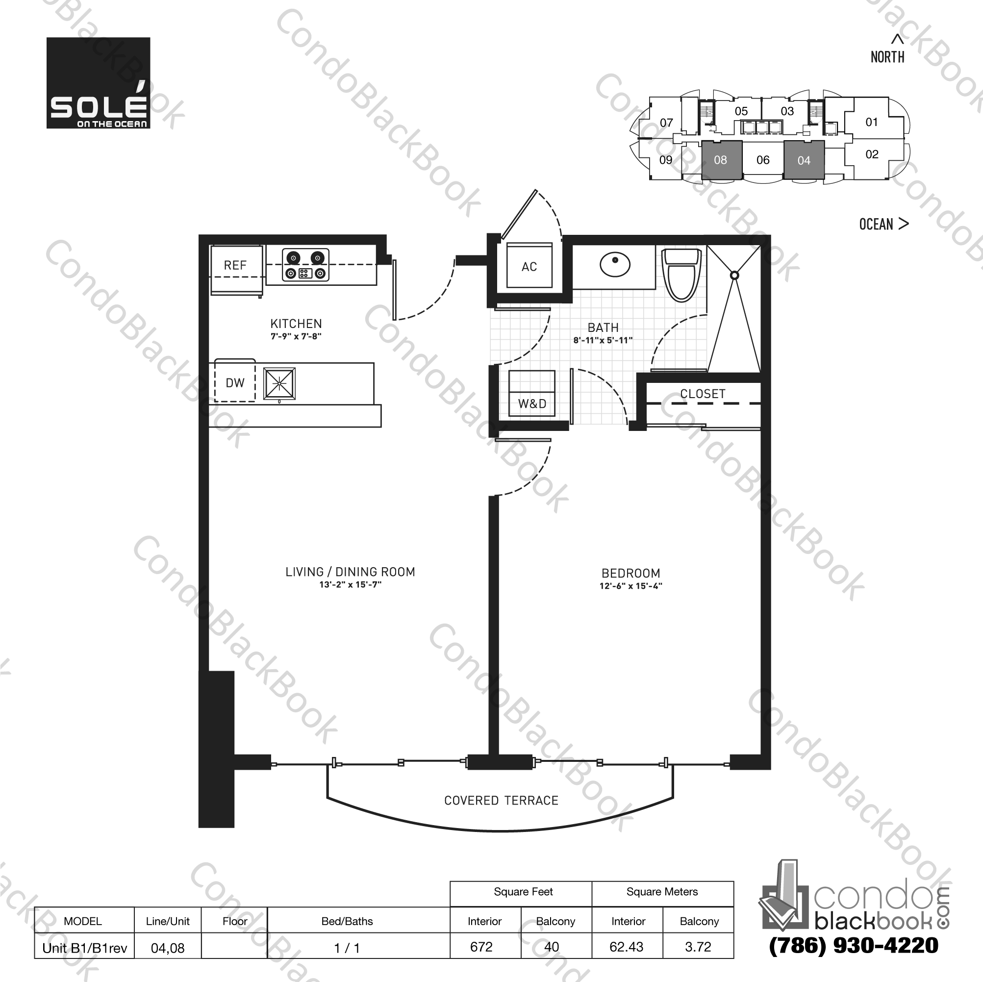Floor plan for Sole Sunny Isles Beach, model Unit B1/B1 rev, line 04,08, 1 / 1 bedrooms, 672 sq ft
