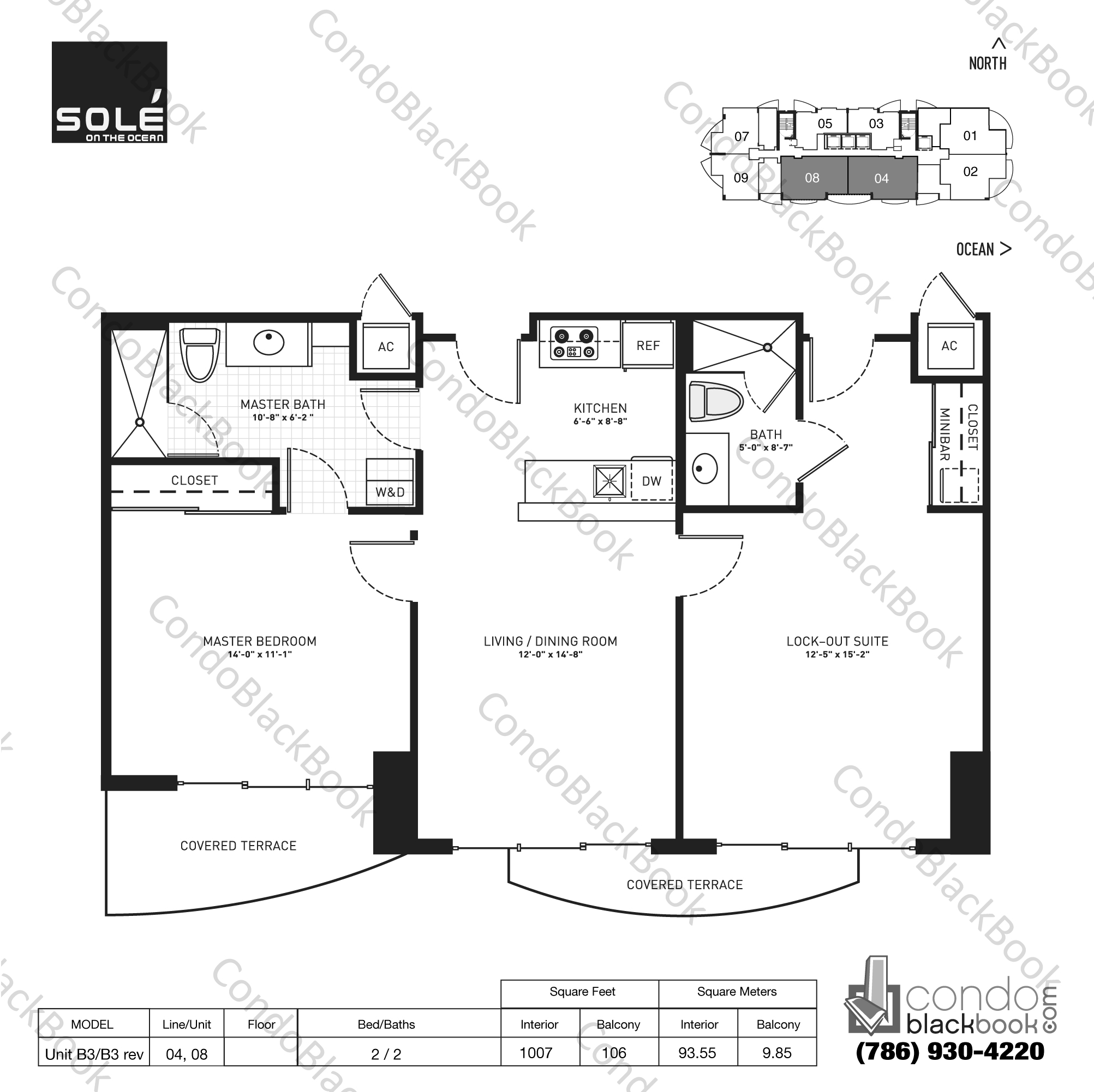 Floor plan for Sole Sunny Isles Beach, model Unit B3/B3 rev, line 04,08, 2 / 2 bedrooms, 1007 sq ft