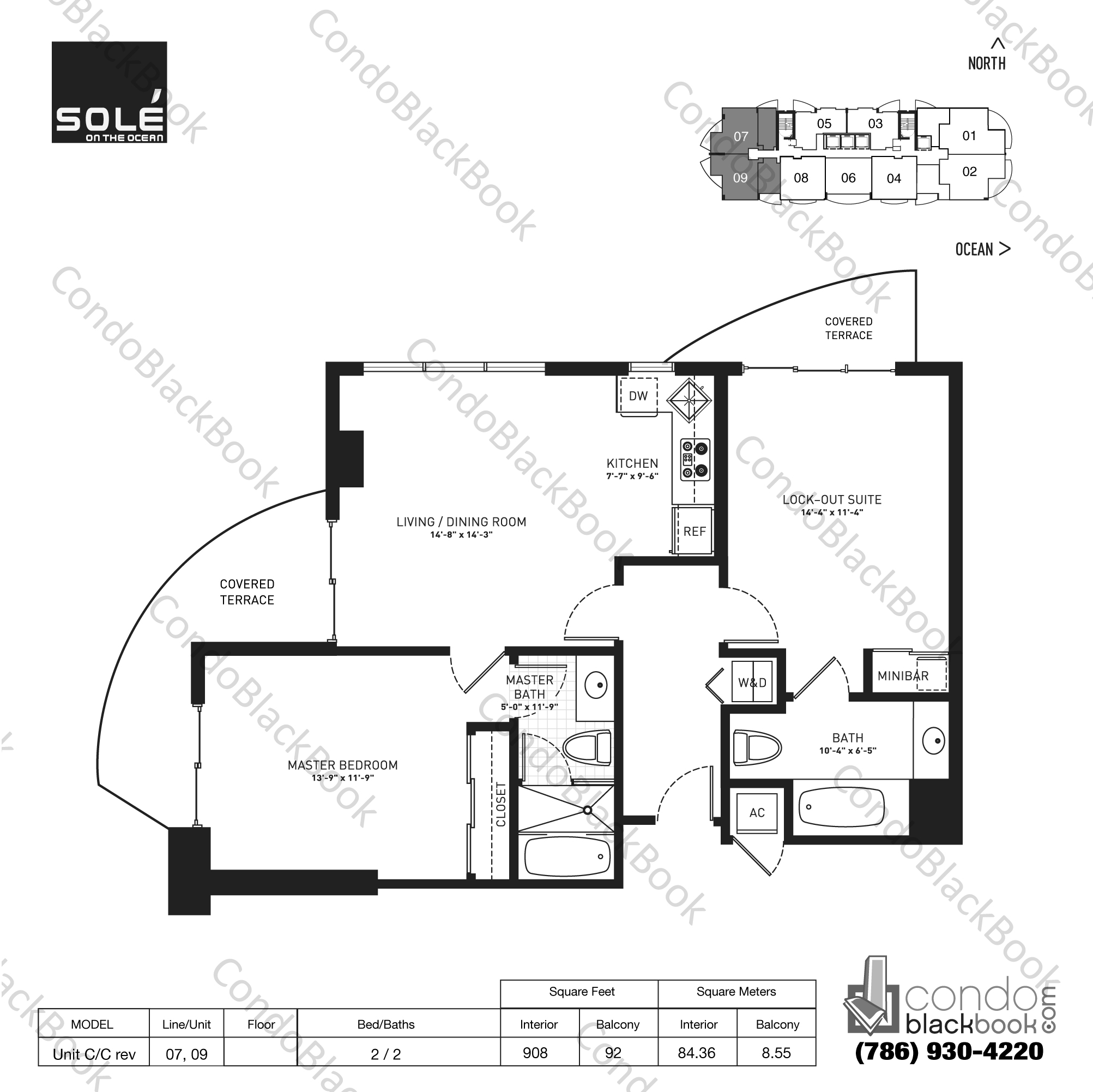 Floor plan for Sole Sunny Isles Beach, model Unit C/C rev, line 07,09, 2 / 2 bedrooms, 908 sq ft