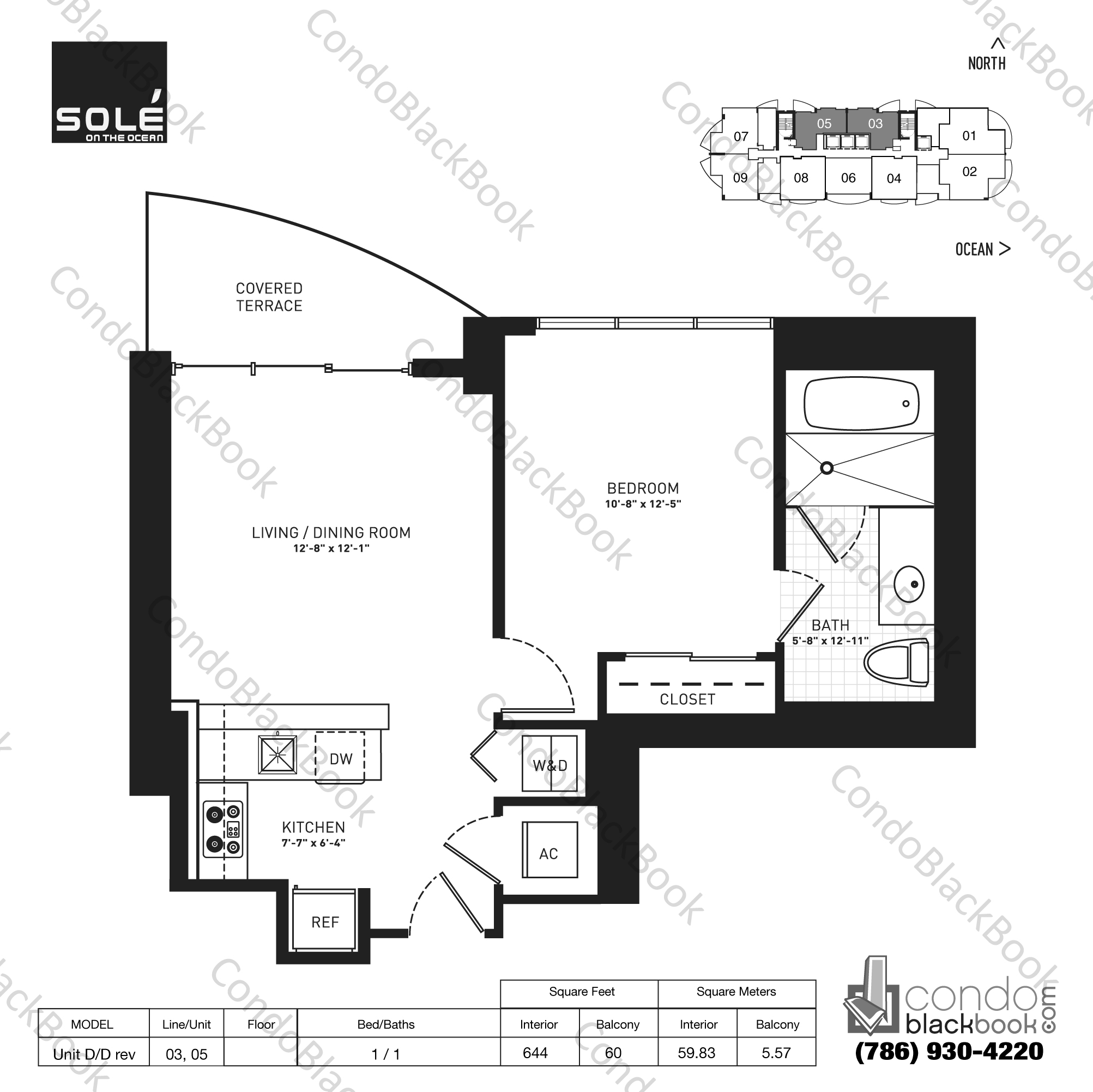 Floor plan for Sole Sunny Isles Beach, model Unit D/D rev, line 03,05, 1 / 1 bedrooms, 644 sq ft
