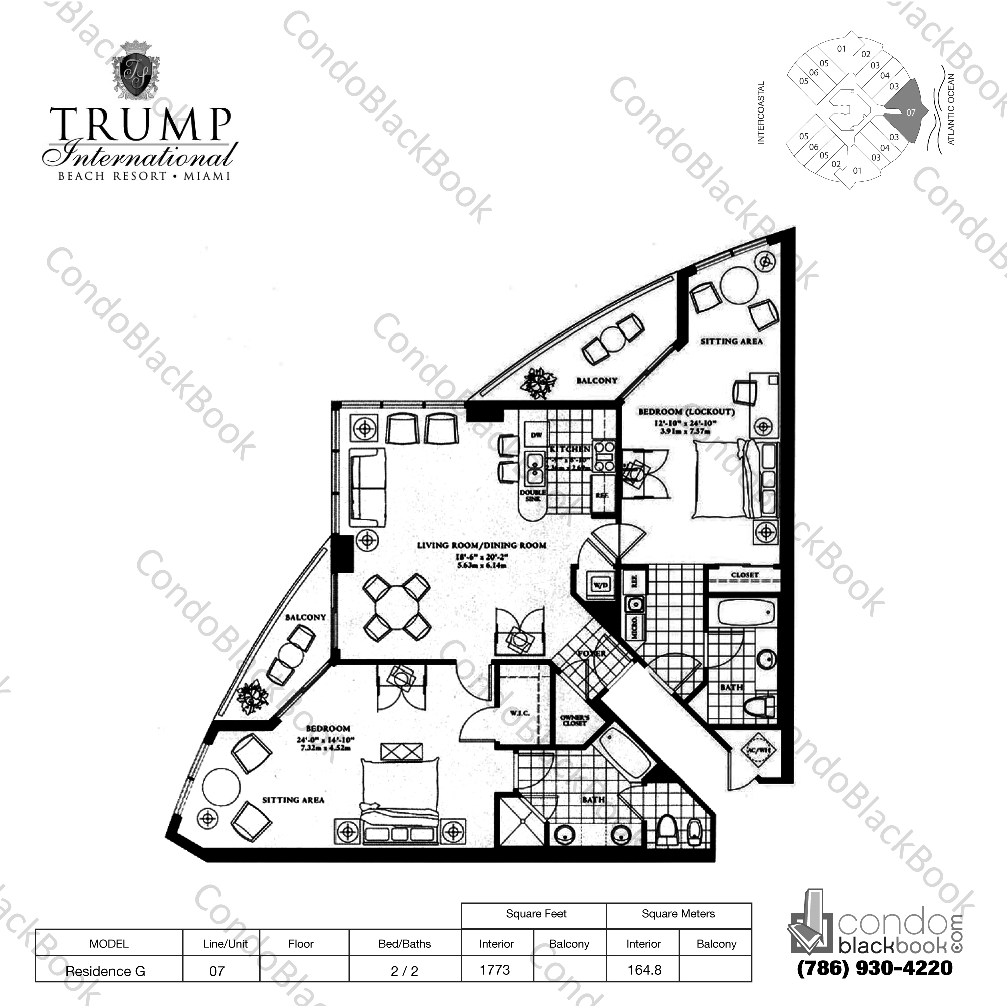 Floor plan for Trump International Sunny Isles Beach, model Residence G, line 07, 2 / 2 bedrooms, 1773 sq ft
